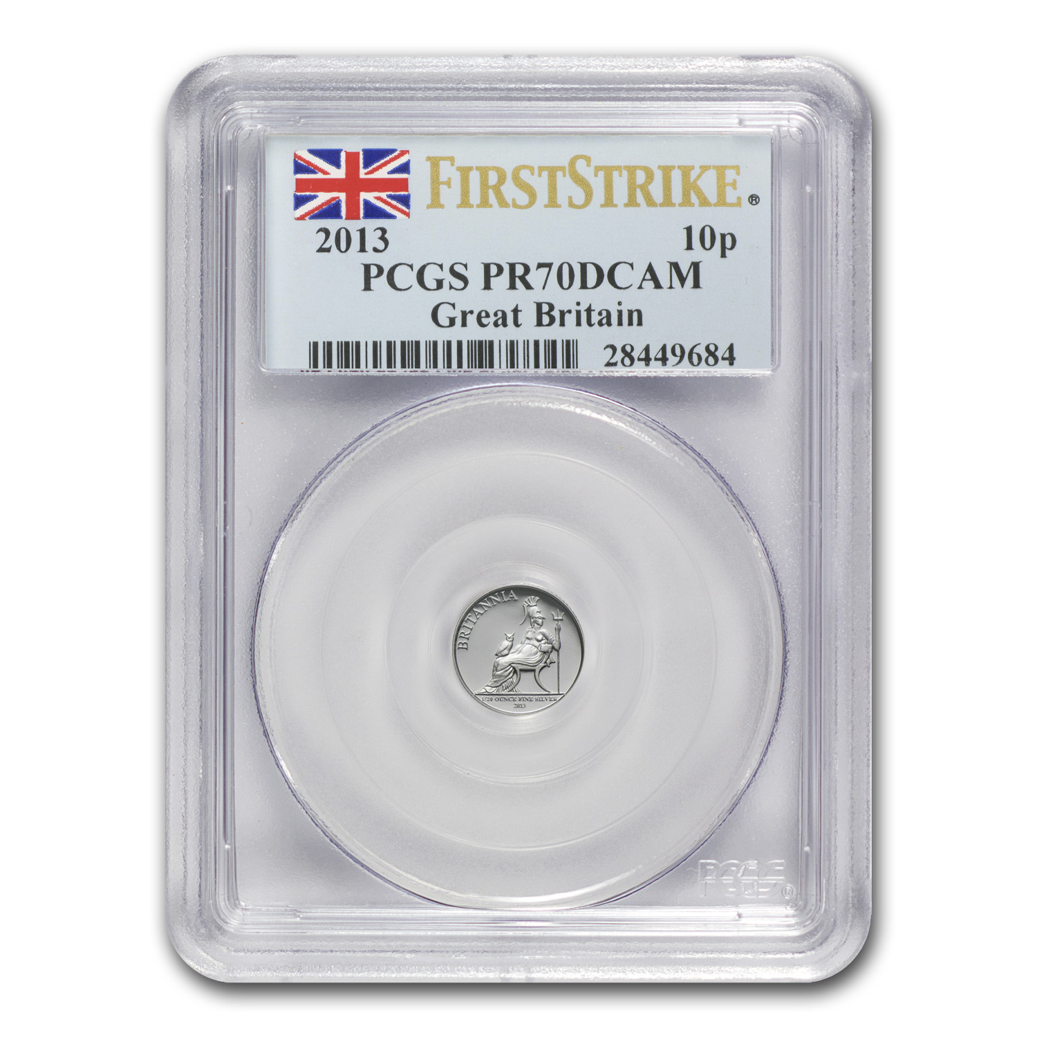 2013 Great Britain 5-Coin Silver Britannia Set PR-70 PCGS (FS)