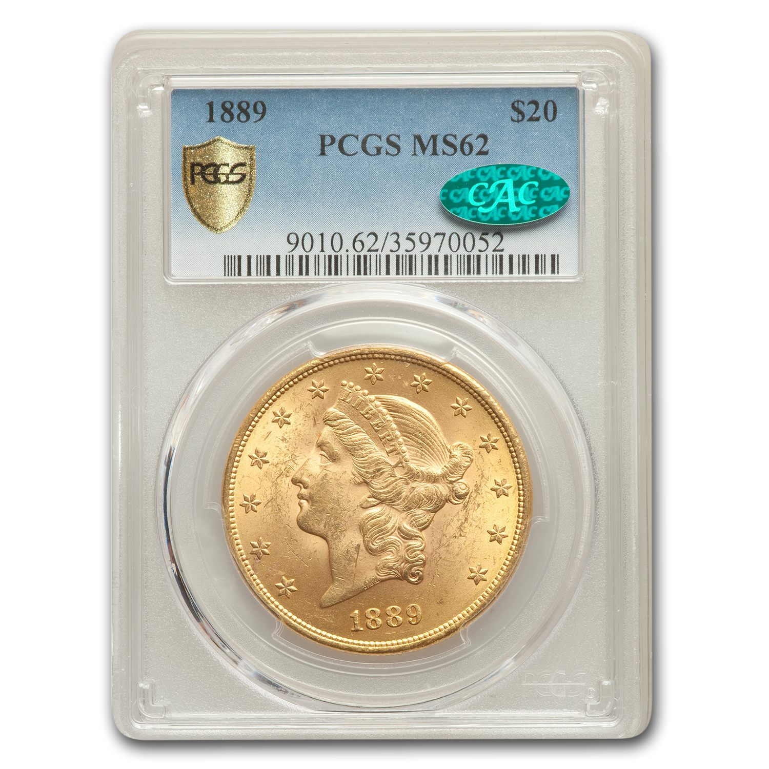 1889 $20 Liberty Gold Double Eagle MS-62 PCGS (CAC)
