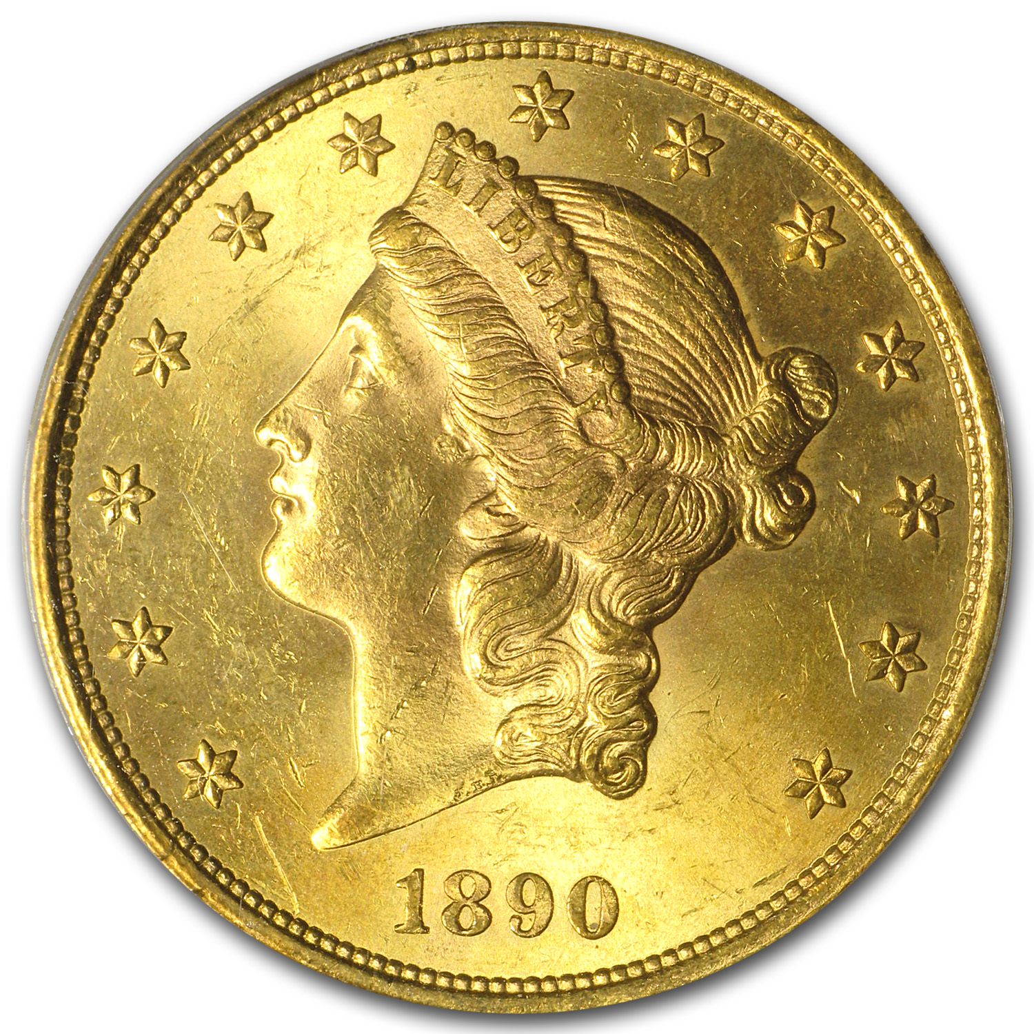 1890-S $20 Gold Liberty Double Eagle MS-62 PCGS (CAC)