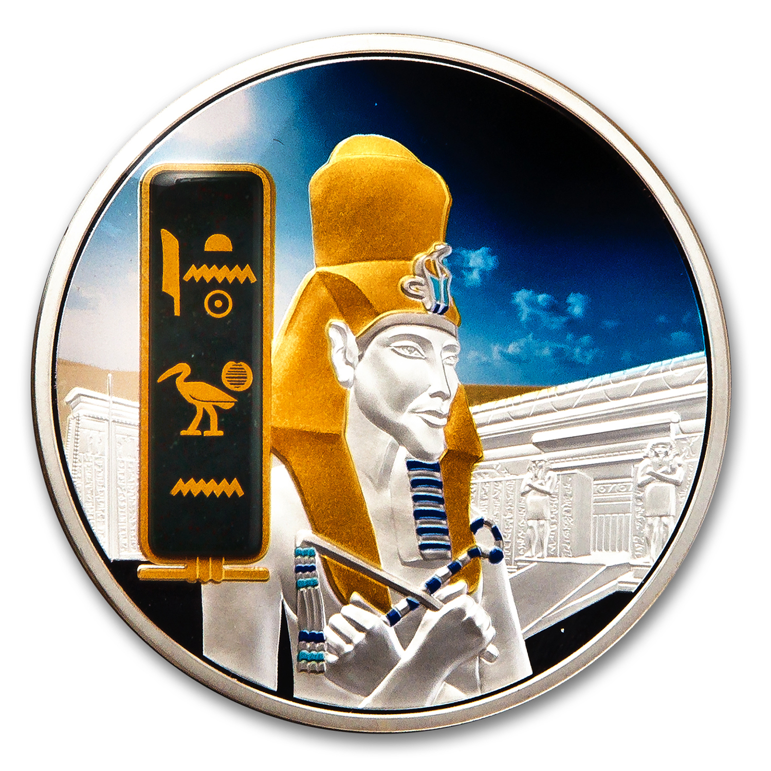 2013 Fiji 2 oz Proof Silver $50 Egyptian Jewels Akhenaten