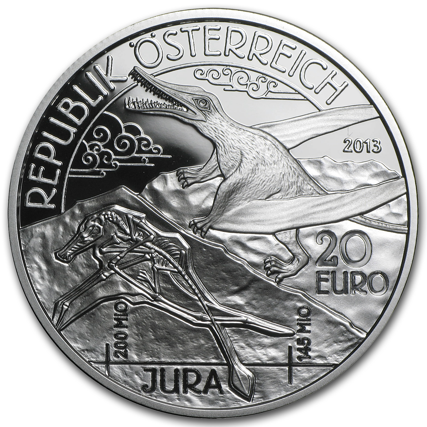 2013 Silver Austrian 20 Euro Life in the Air Proof (Jurassic)