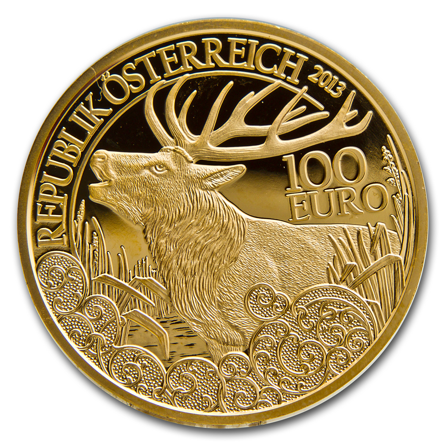 2013 Gold Austrian 100 Euro The Red Deer Proof