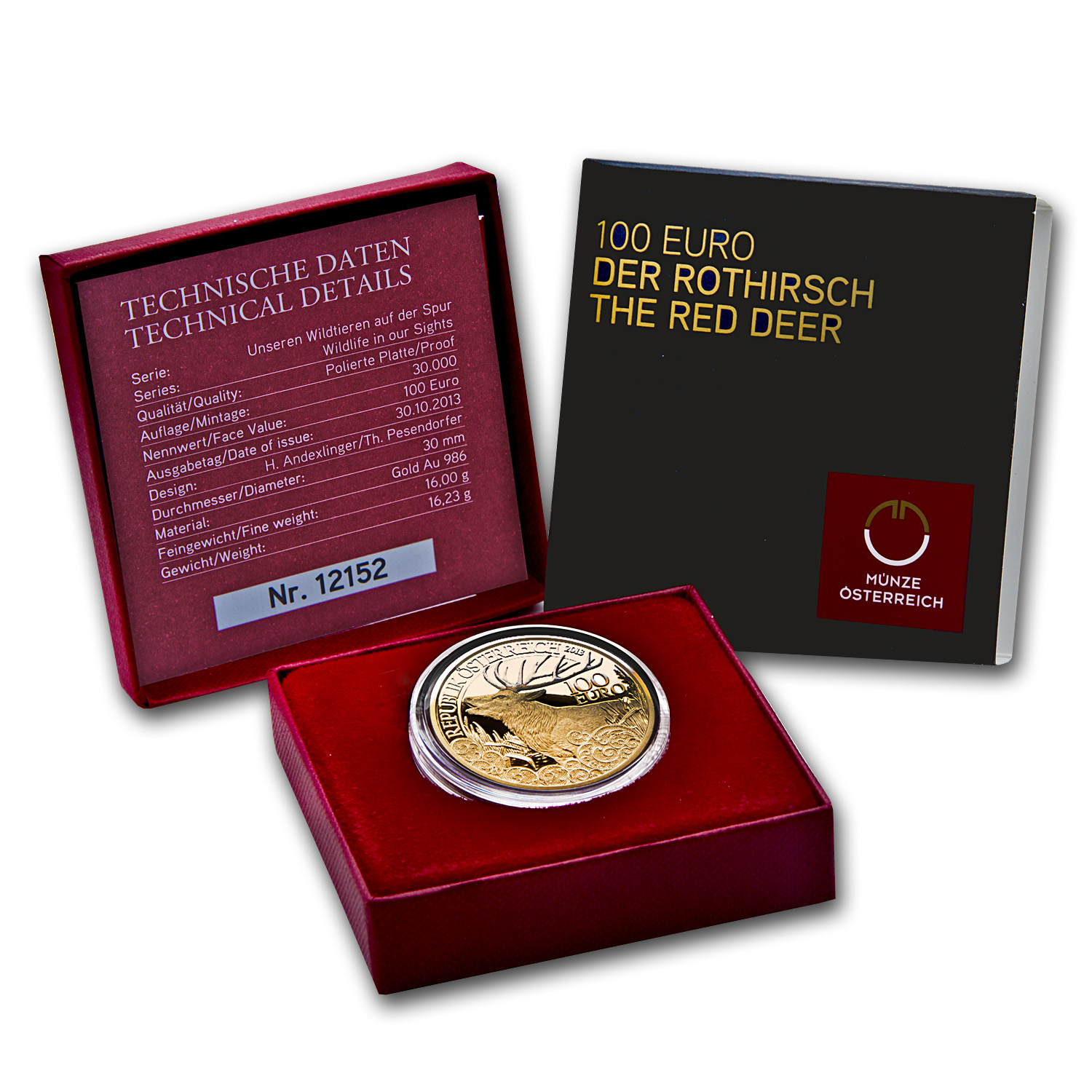 2013 Austria Proof Gold €100 Wildlife in our Sights (Red Deer)