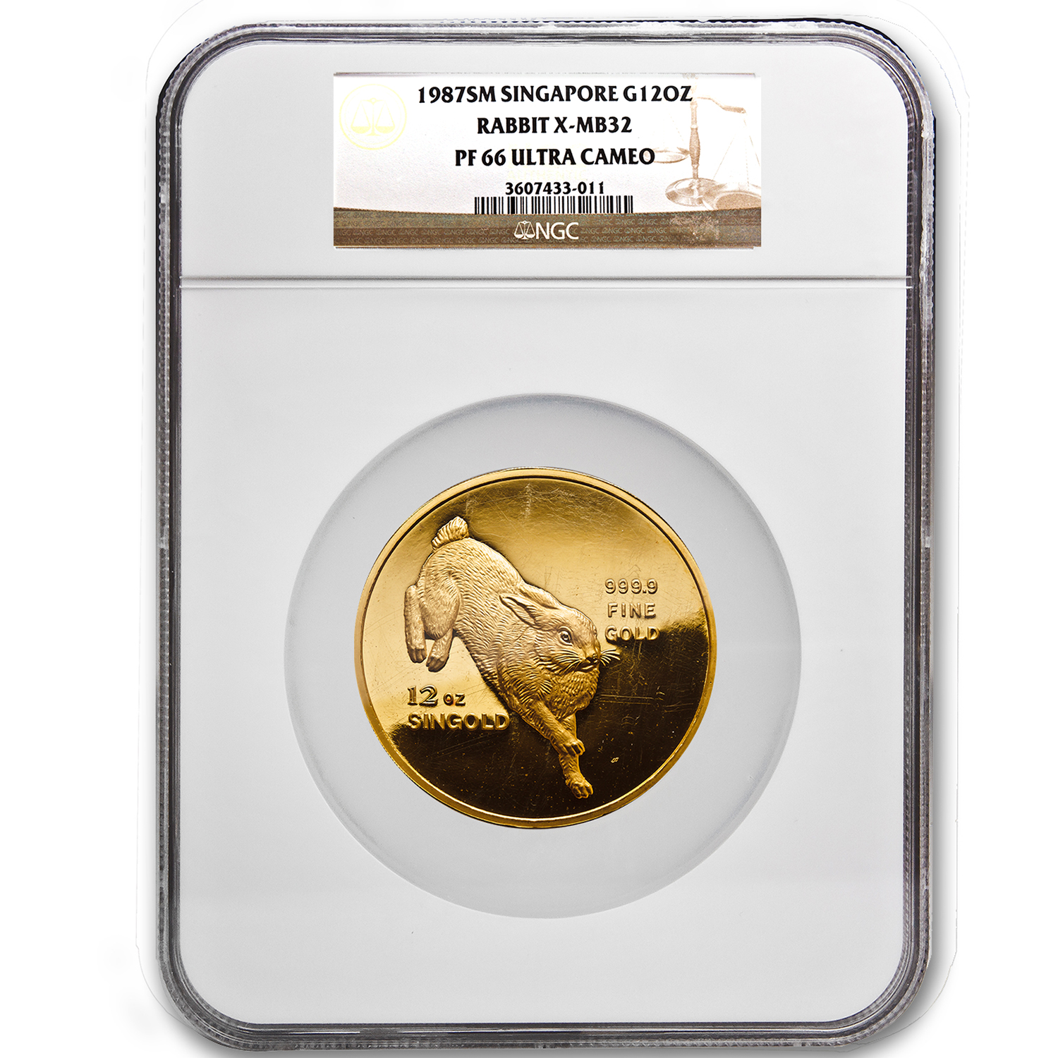 1987 Singapore 12 oz Proof Gold Singold Rabbit PF-66 NGC