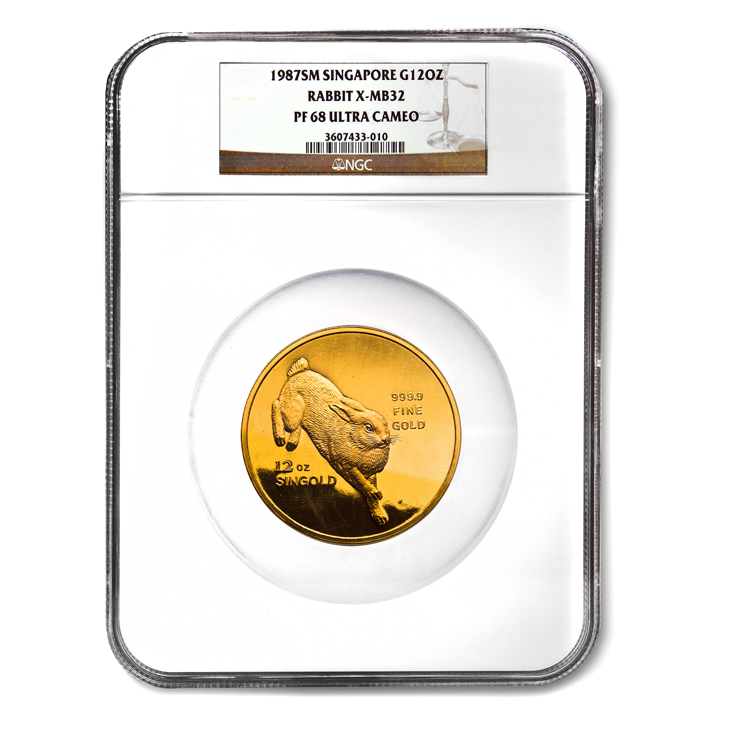 1987 Singapore 12 oz Proof Gold Singold Rabbit PF-68 NGC