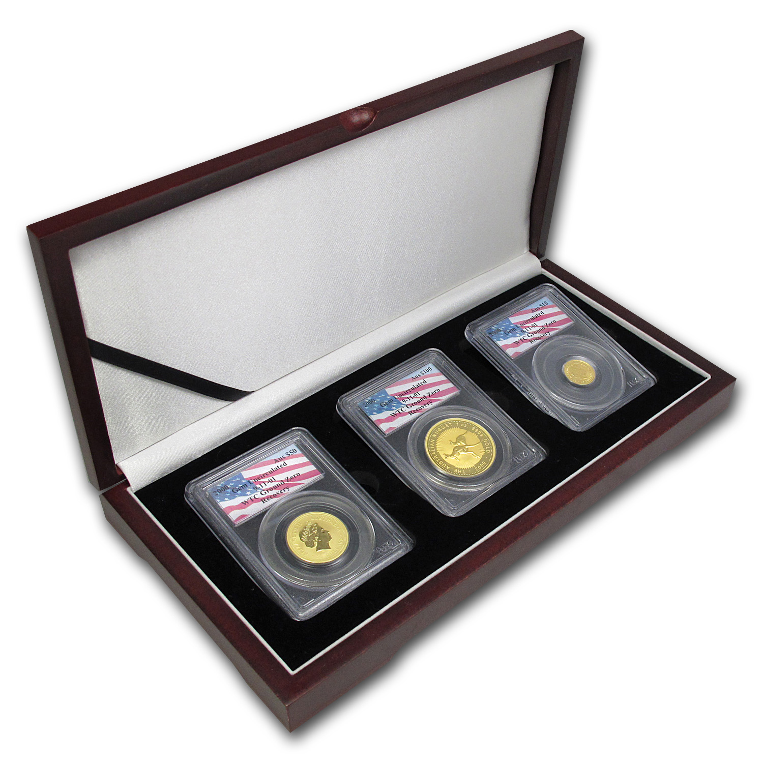 2000 Australia Gold Nugget WTC Ground Zero Gem BU 3-Coin Set PCGS