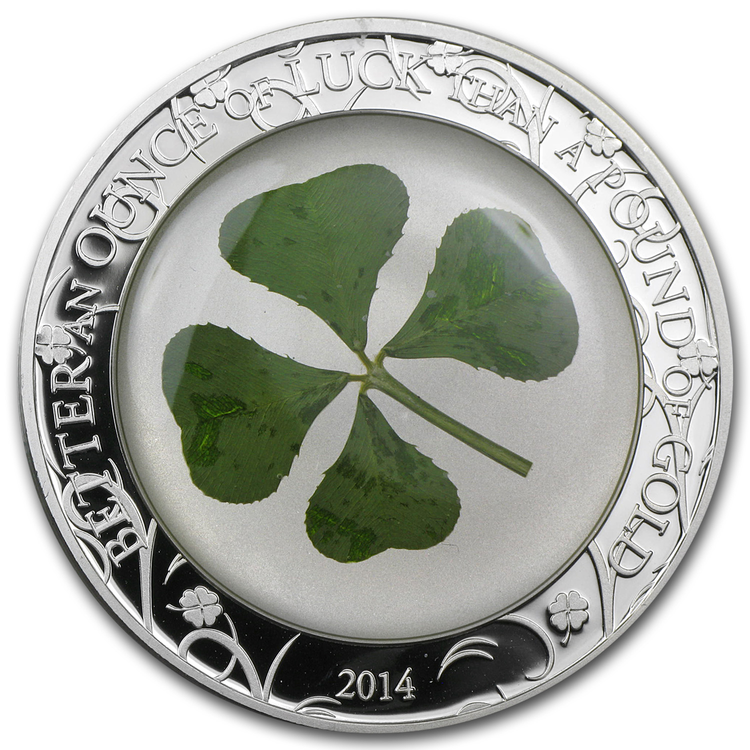2014 Palau Proof Silver $5 Four-Leaf Clover Ounce of Luck