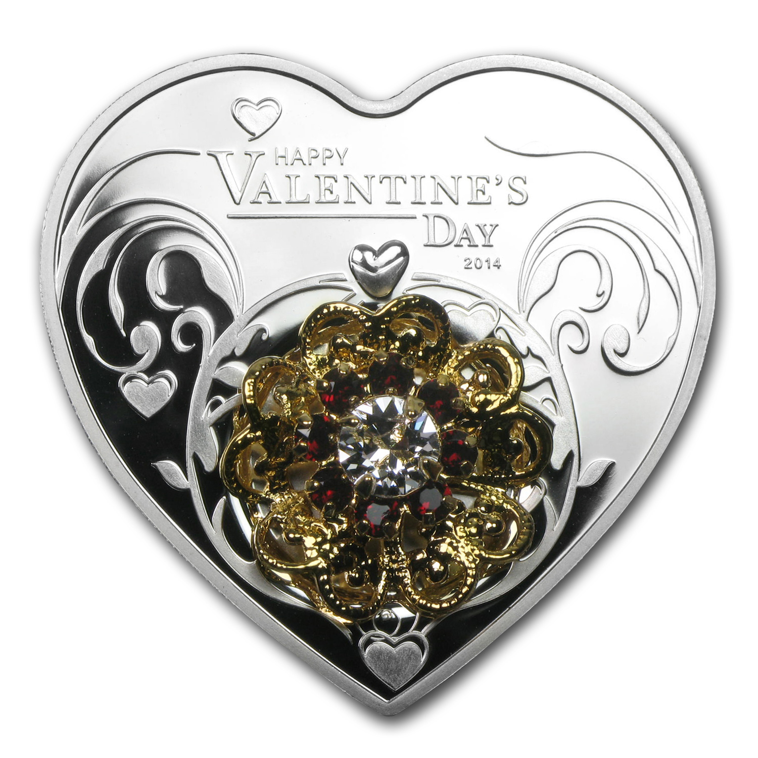 2014 Cook Islands Silver Happy Valentine's Day-Heart Shape