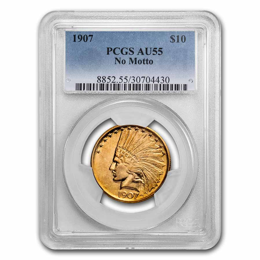 1907 $10 Indian Gold Eagle No Motto AU-55 PCGS