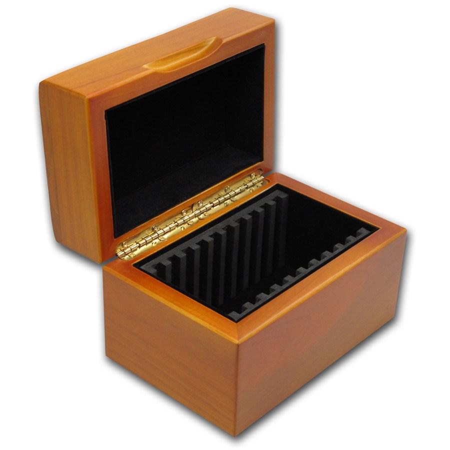 Hardwood slab storage box ten slab presentation gift for Money storage box