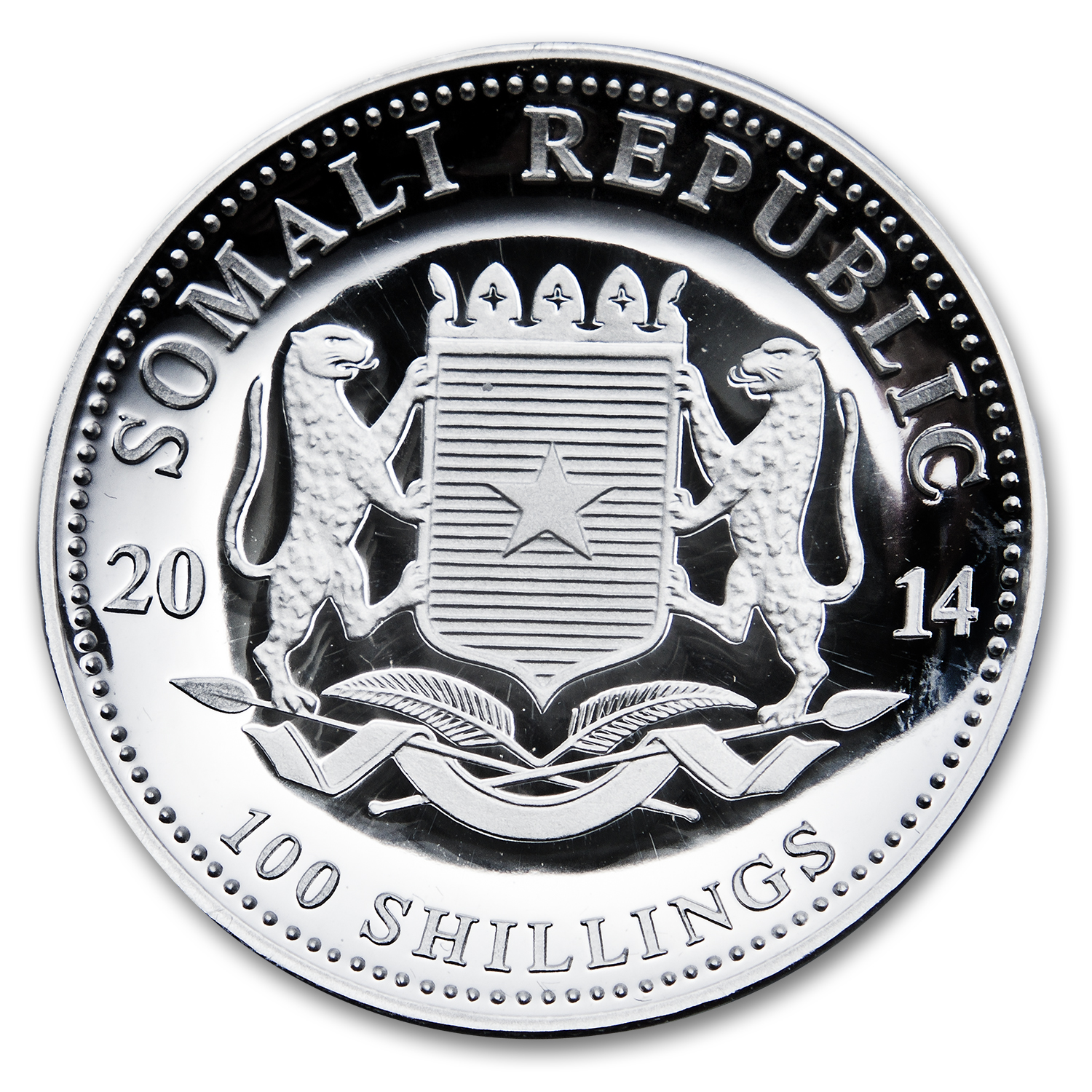 2014 1 oz Silver Somalian Elephant (High Relief)