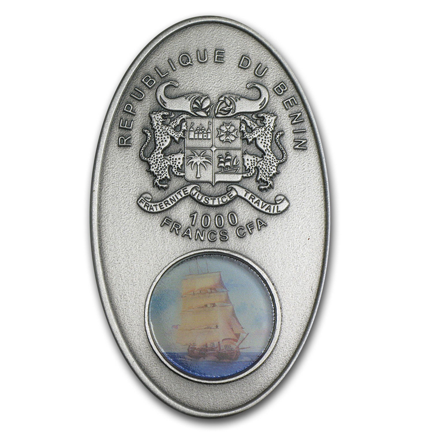 2013 Benin Silver 1000 Francs Sail Ship Legends Bounty