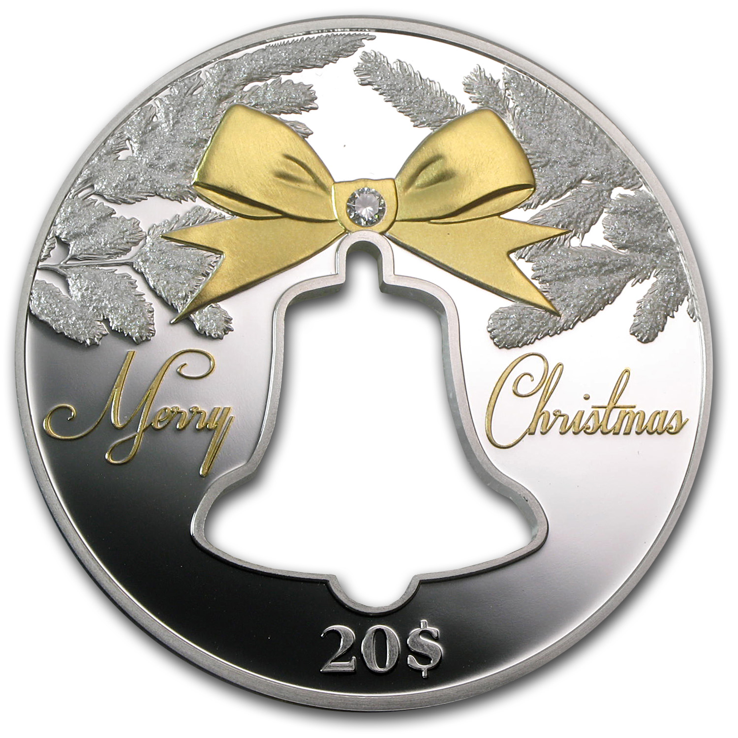 2013 Christmas Island 2 oz Proof Silver Christmas Bell