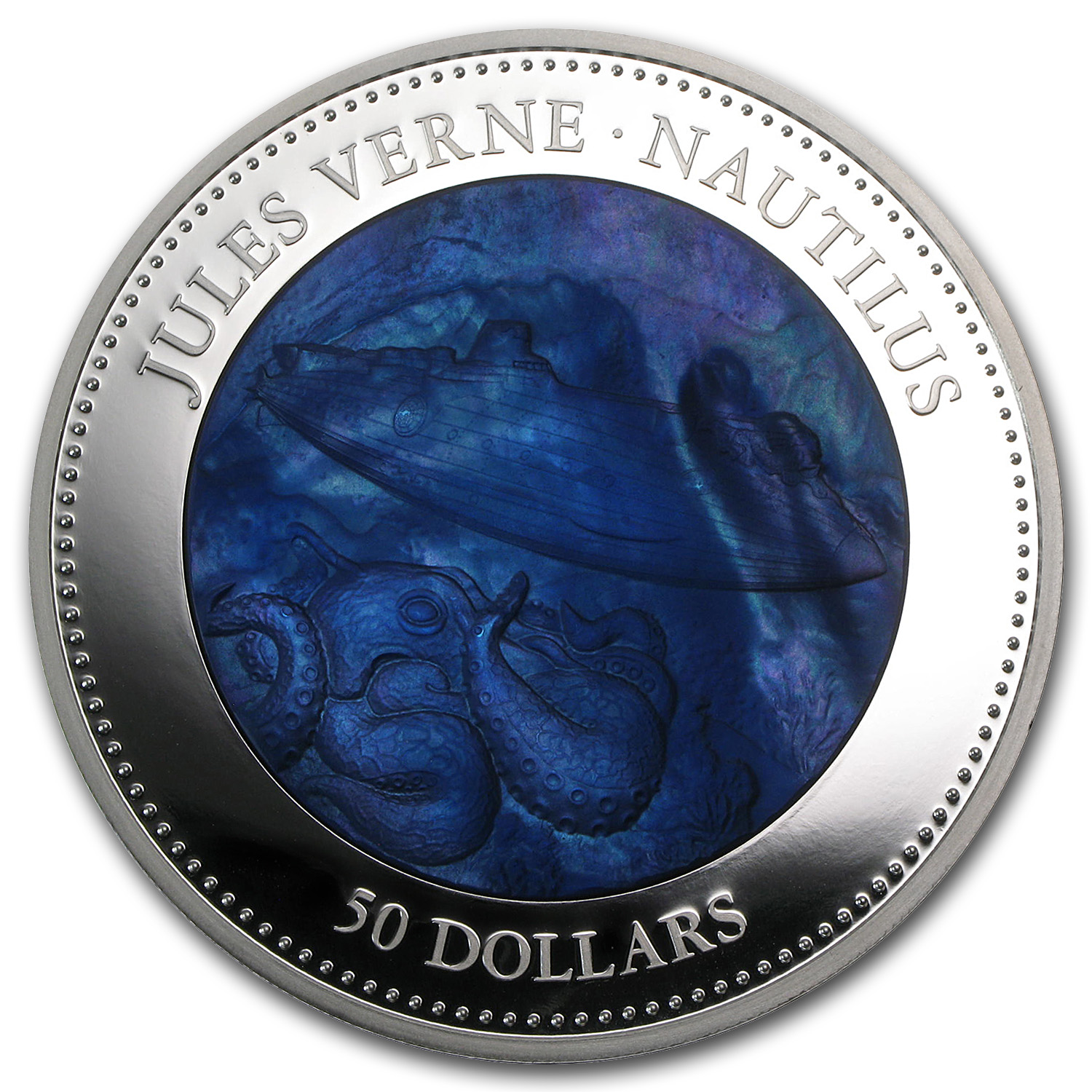 2014 Cook Islands 5 oz Silver Mother of Pearl Jules Verne