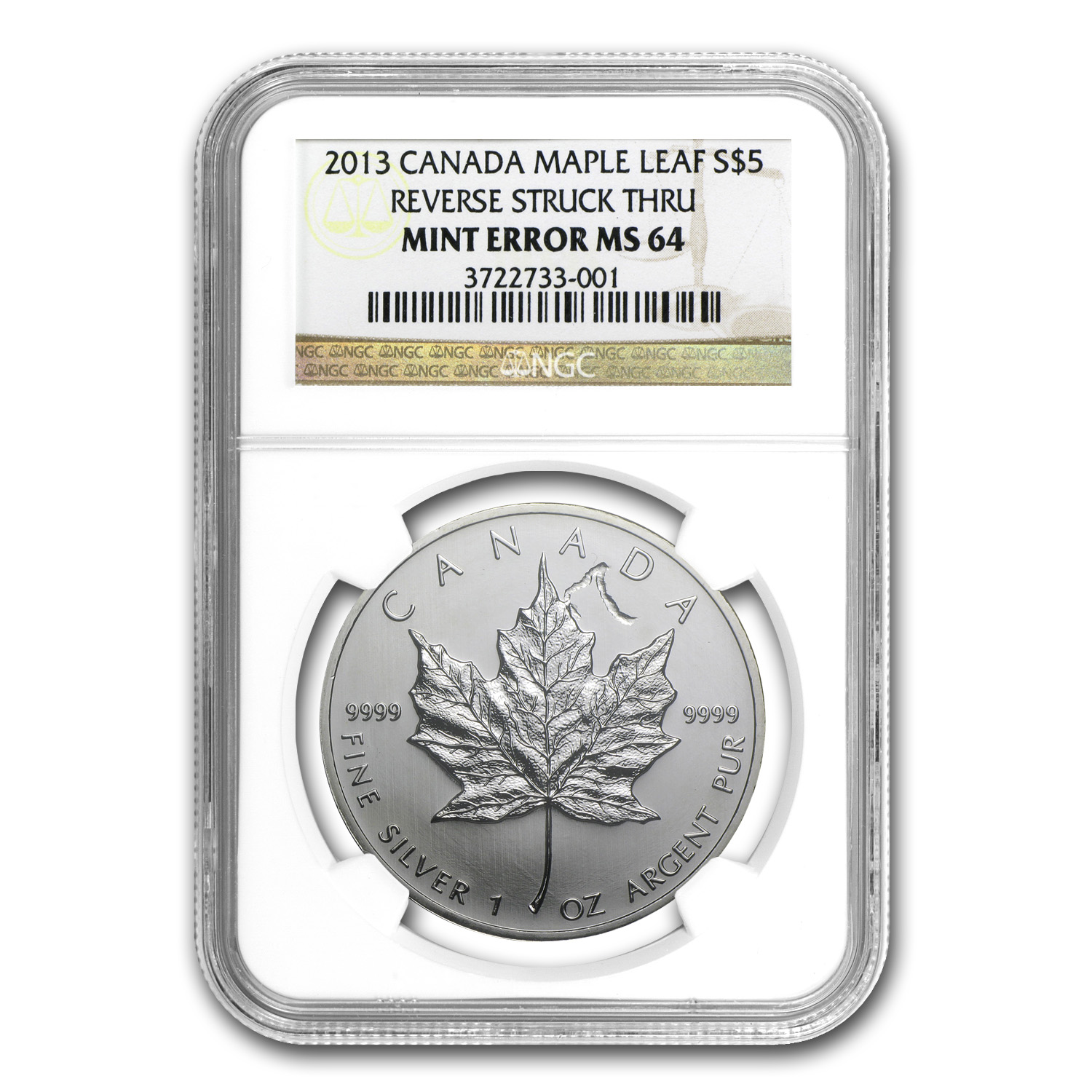 2013 1 oz Silver Can. Maple Leaf Rev. Struck Mint Error MS-64 NGC