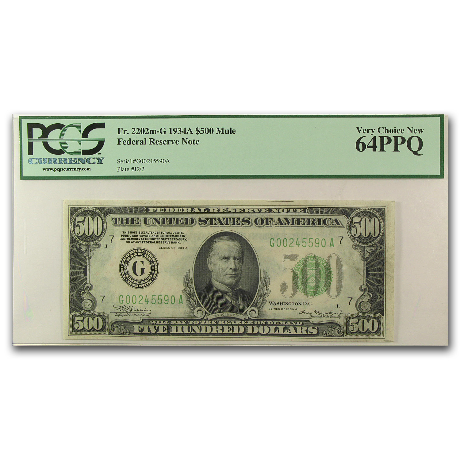 1934-A (G-Chicago) $500 FRN Ch New-64 PPQ PCGS
