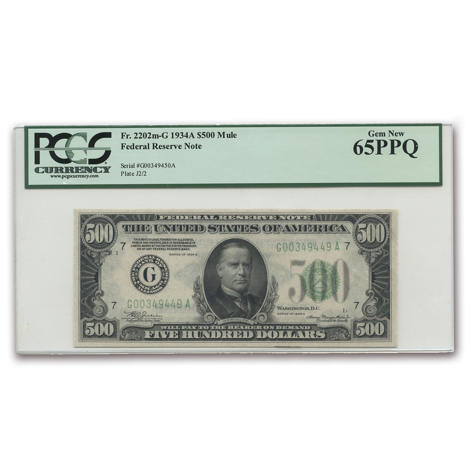 1934-A (G-Chicago) $500 FRN PCGS Gem New-65 PPQ