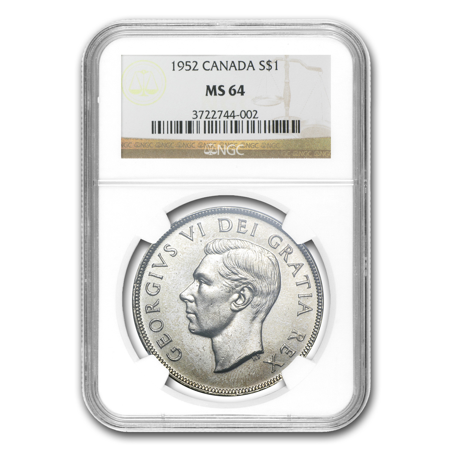 1952 Canada Silver Dollar MS-64 NGC