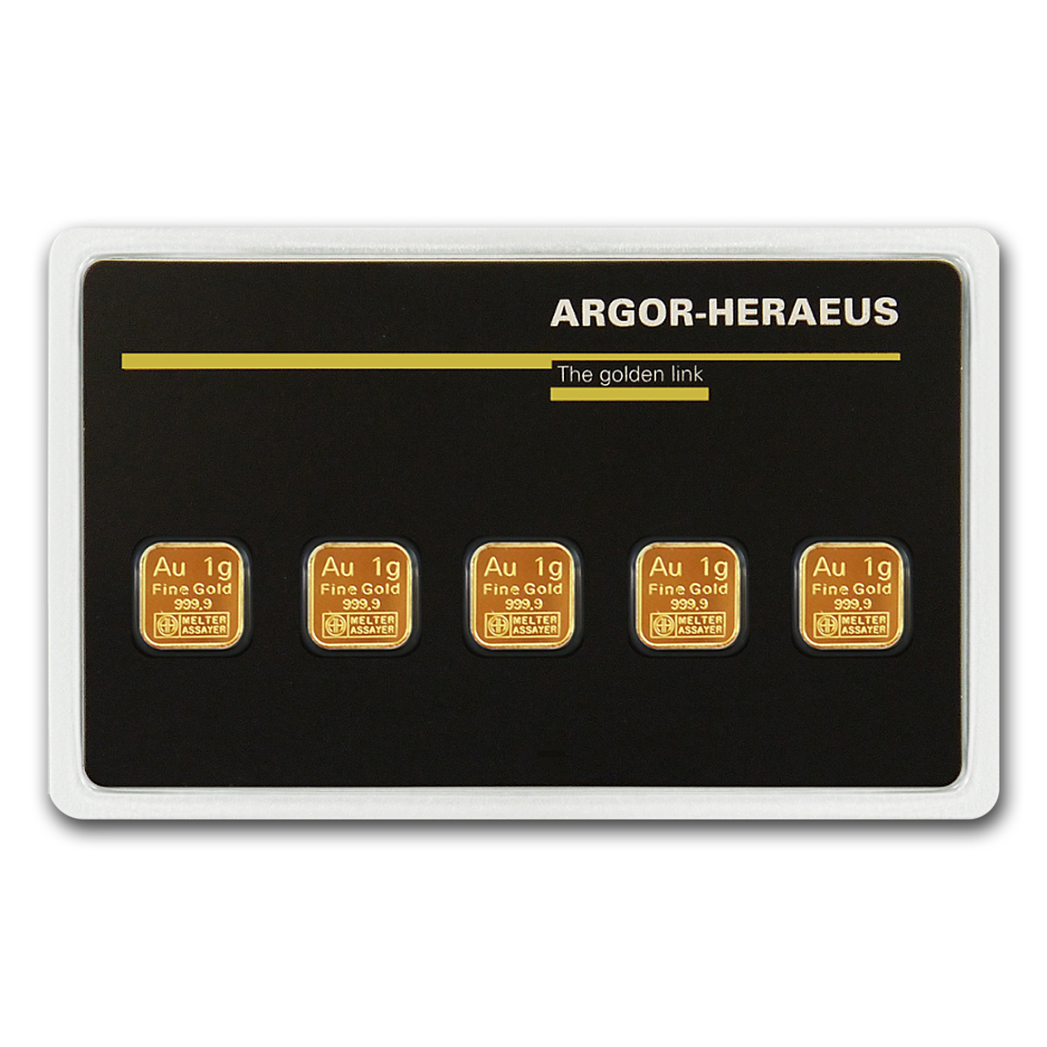 5x 1 gram Gold Bar - Argor-Heraeus (In Assay)