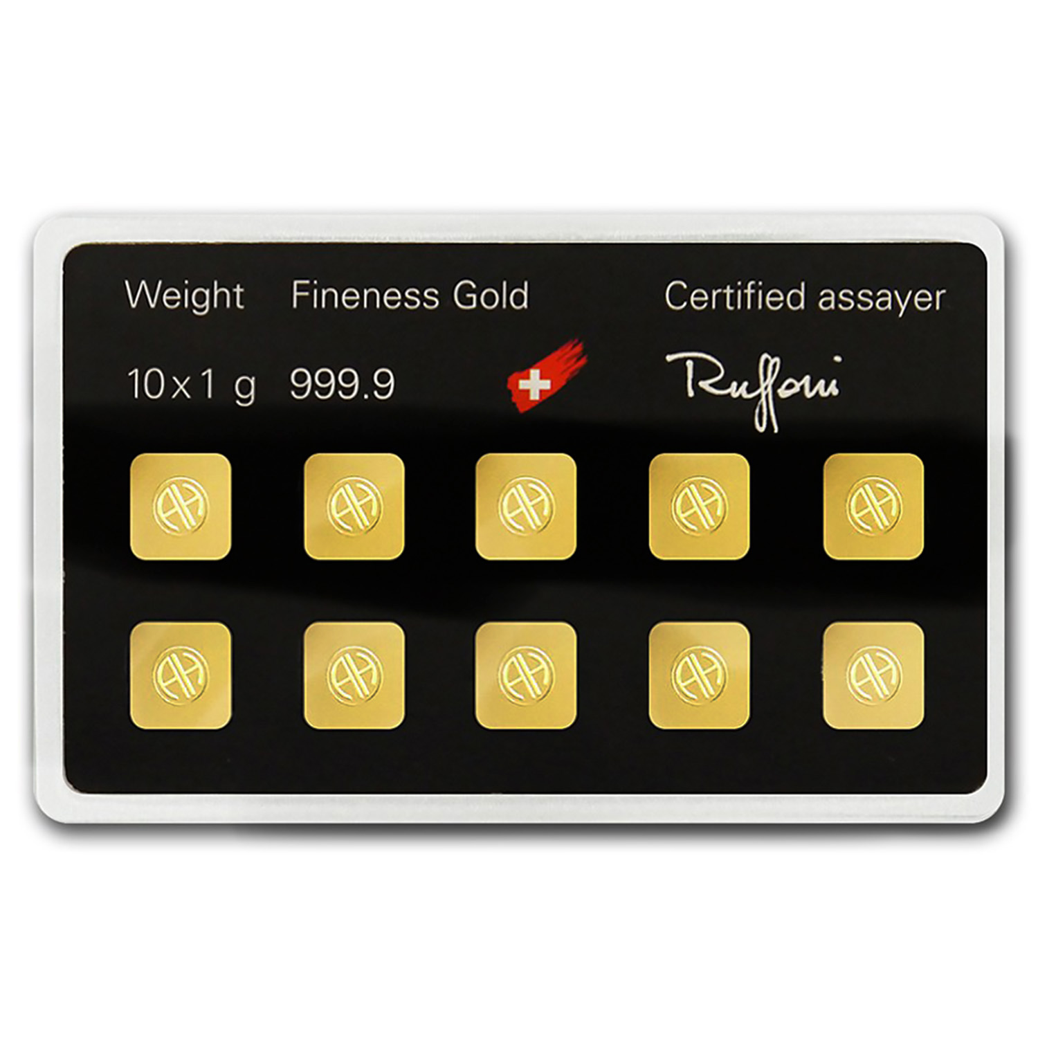 10x 1 gram Gold Bar - Argor-Heraeus (In Assay)