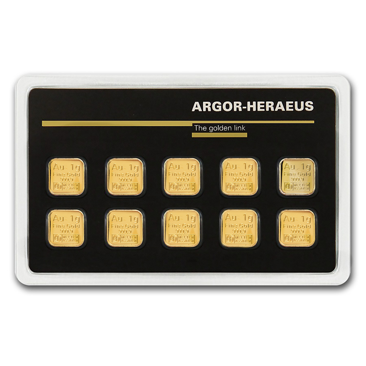 10x 1 gram Gold Bars - Argor-Heraeus (In Assay)