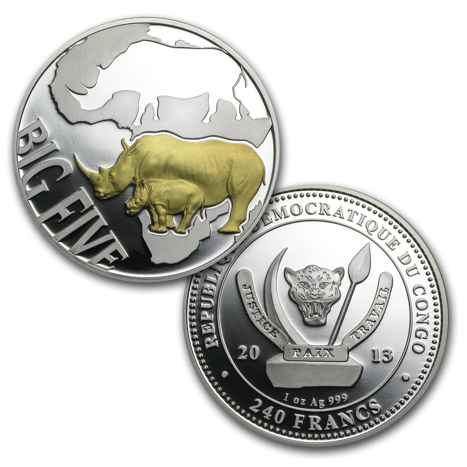 2013 Congo 4-Coin Silver The Big Five Rhinoceros Proof Set