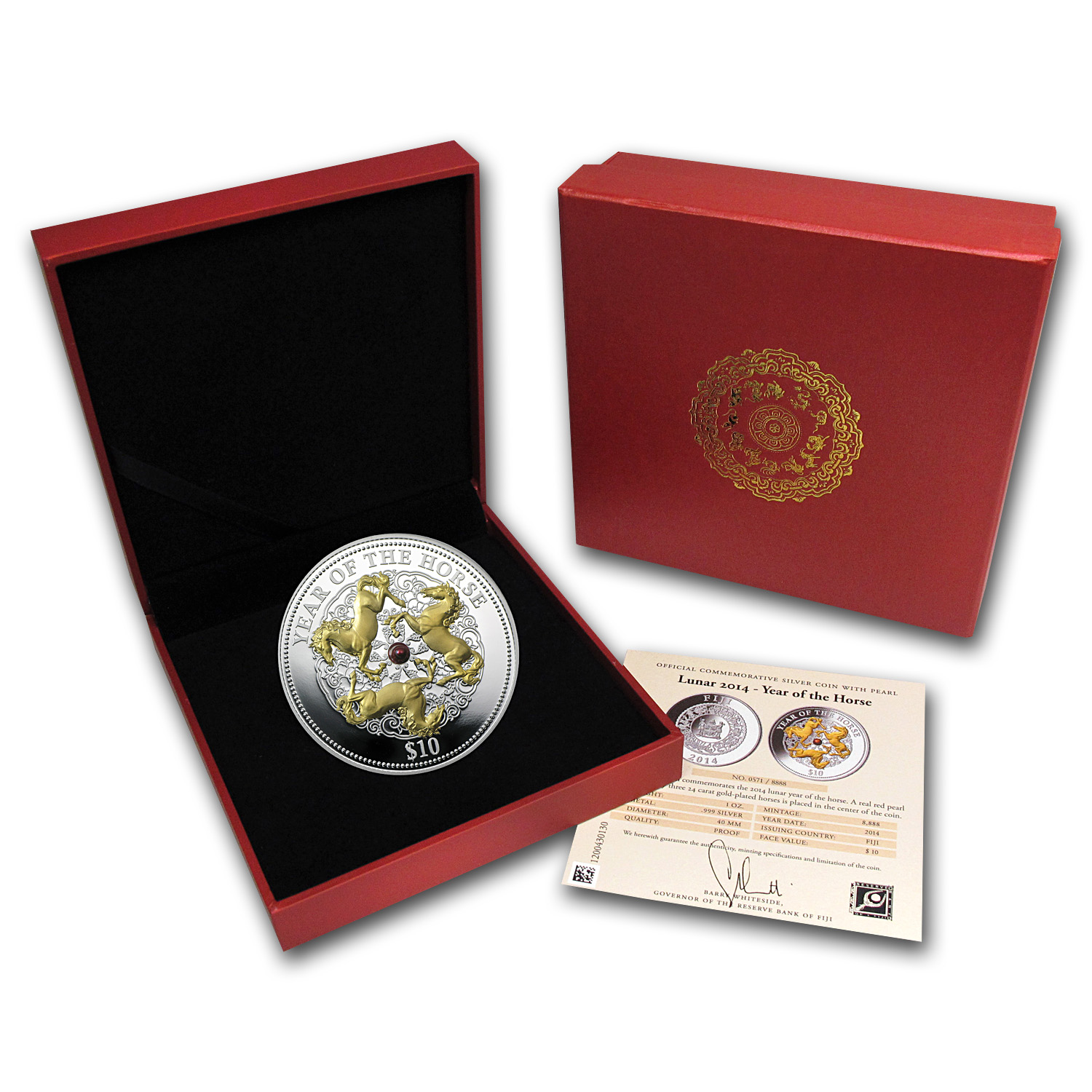 Fiji 2014 1 oz Silver Year of the Horse - Gold Gilded with Pearl