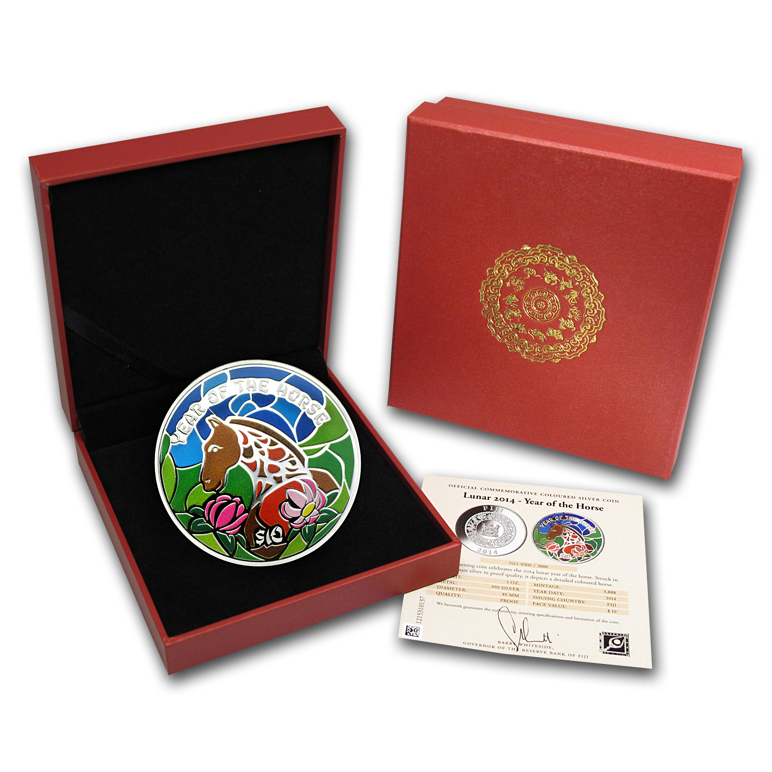 2014 Fiji 1 oz Silver Year of the Horse Lunar (Colored)