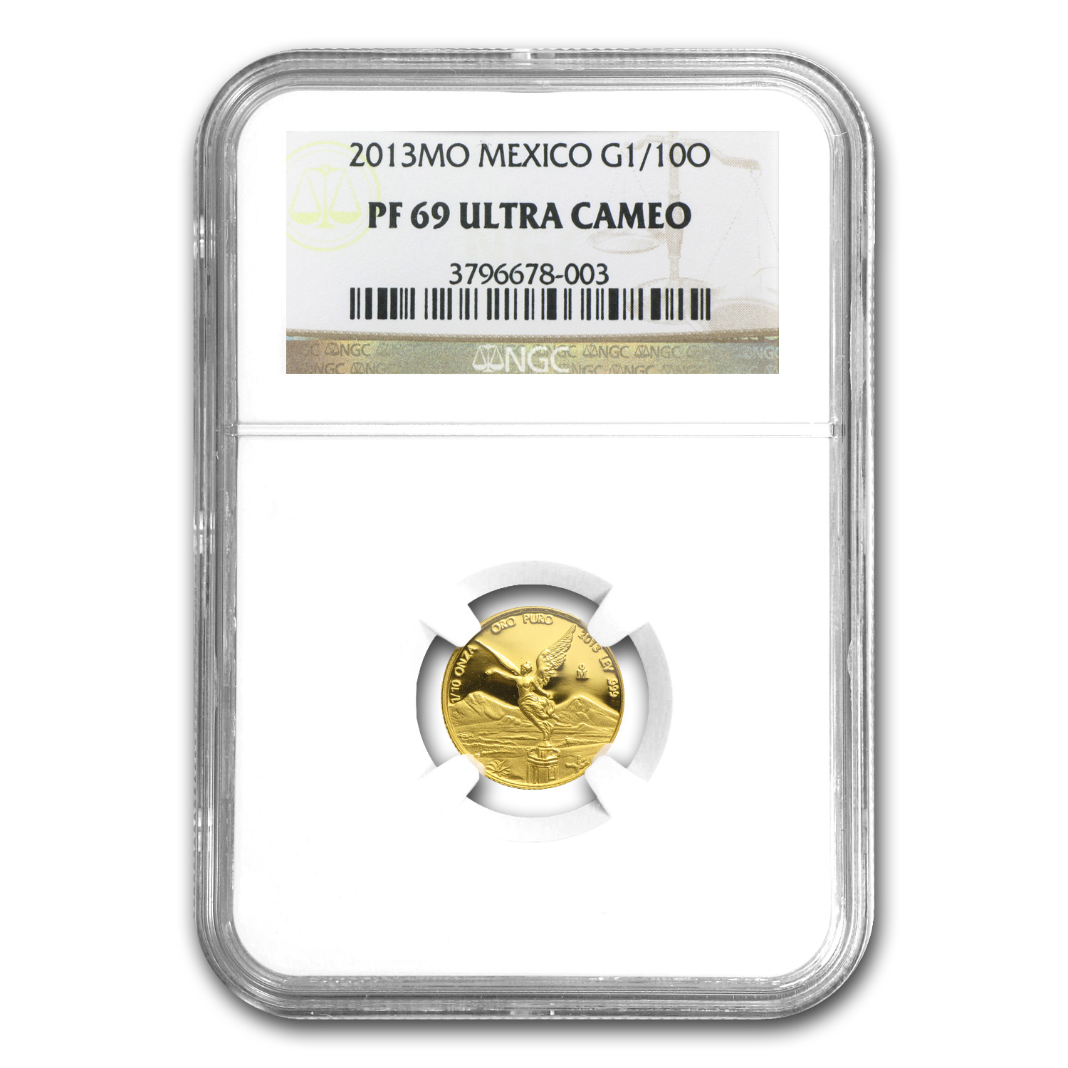 2013 Mexico 1/10 oz Gold Libertad PF-69 NGC