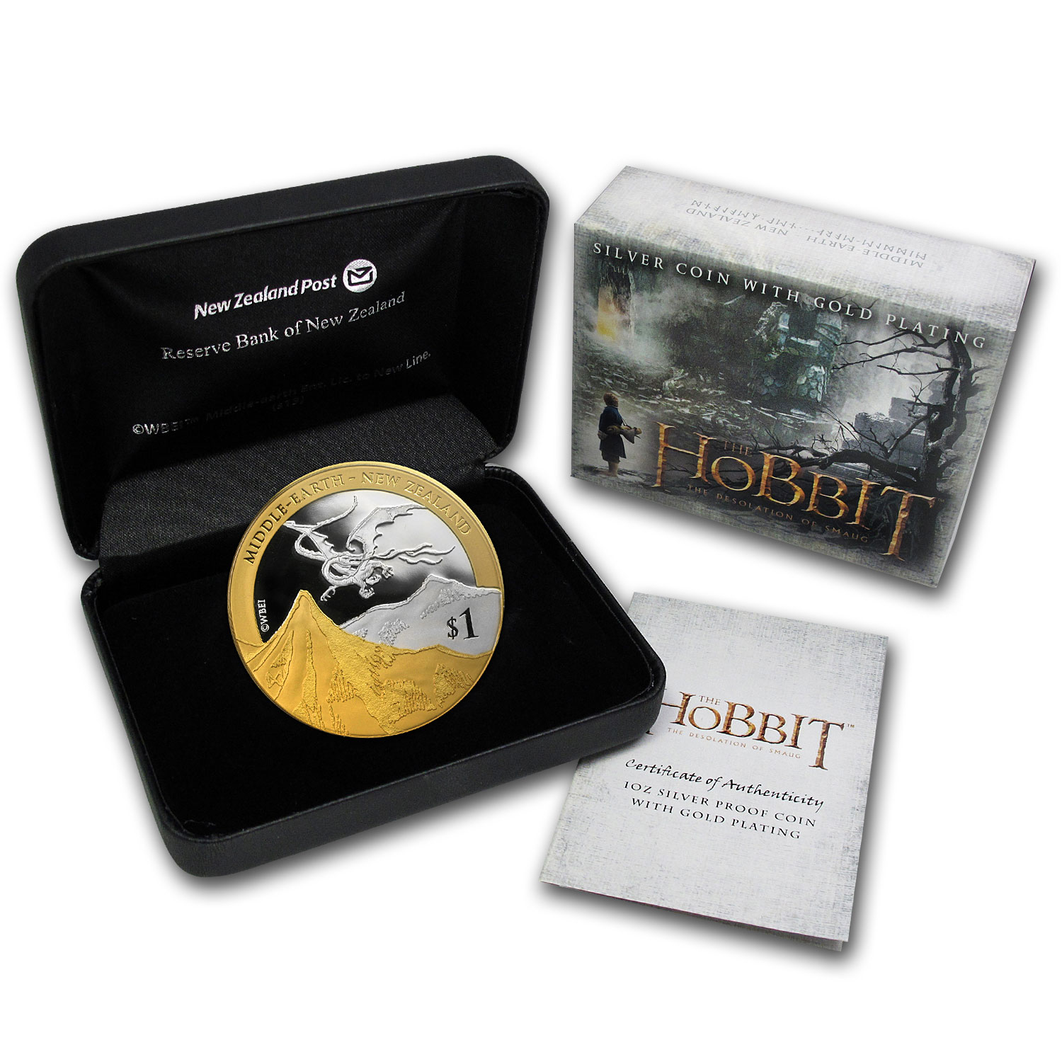 2014 The Hobbit - The Desolation of Smaug Gold Plated Silver Coin