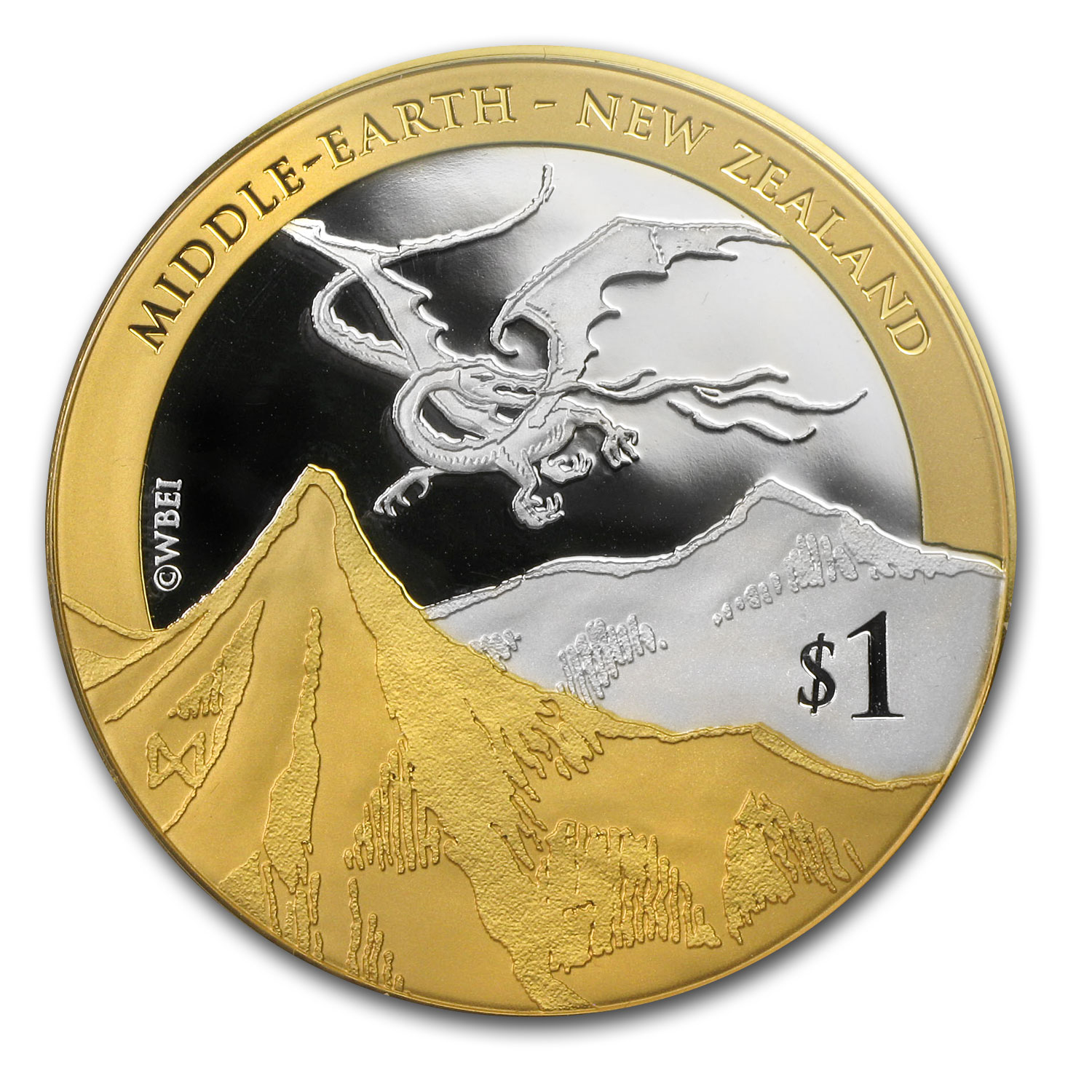 2014 New Zealand 1 oz Silver $1 Desolation of Smaug (Gold Plated)