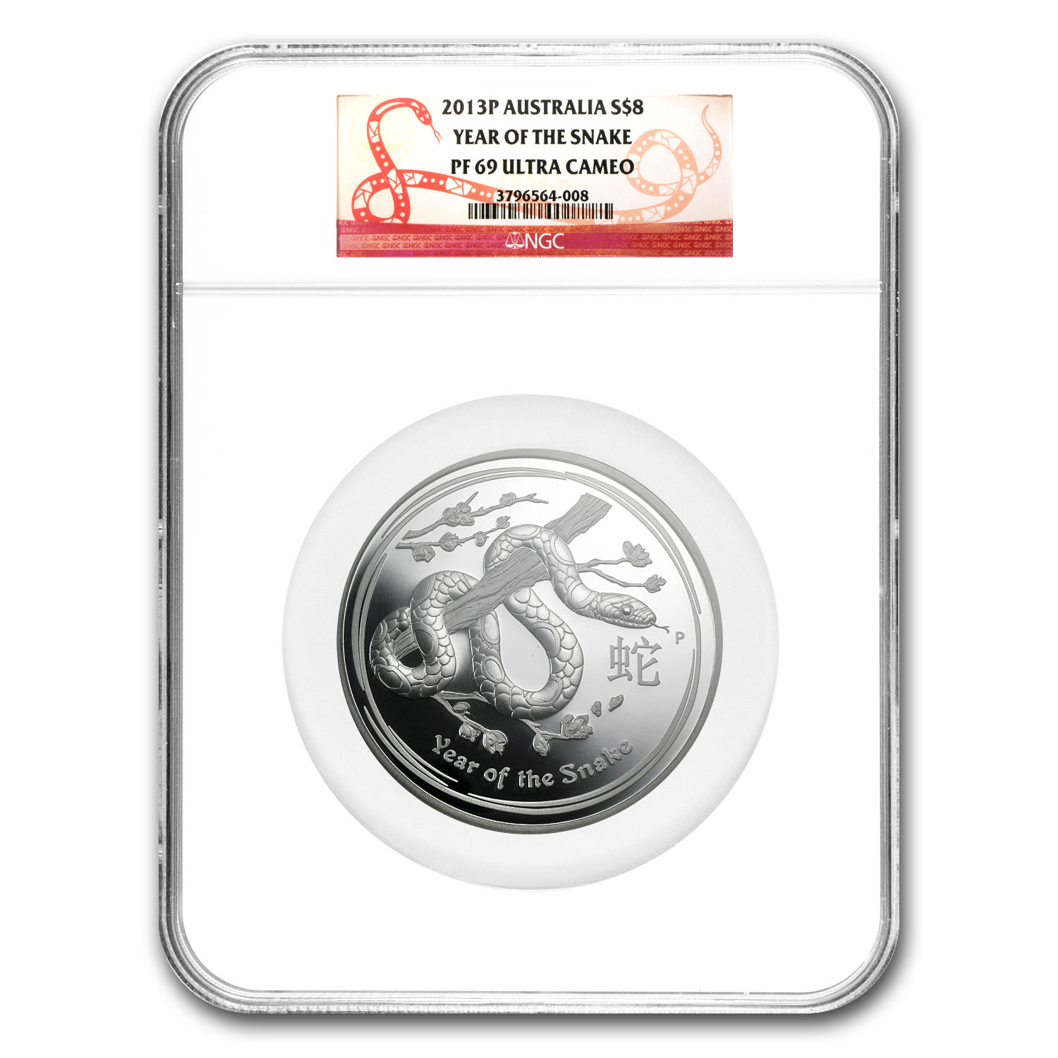 2013 Australia 5 oz Silver Year of the Snake PF-69 NGC