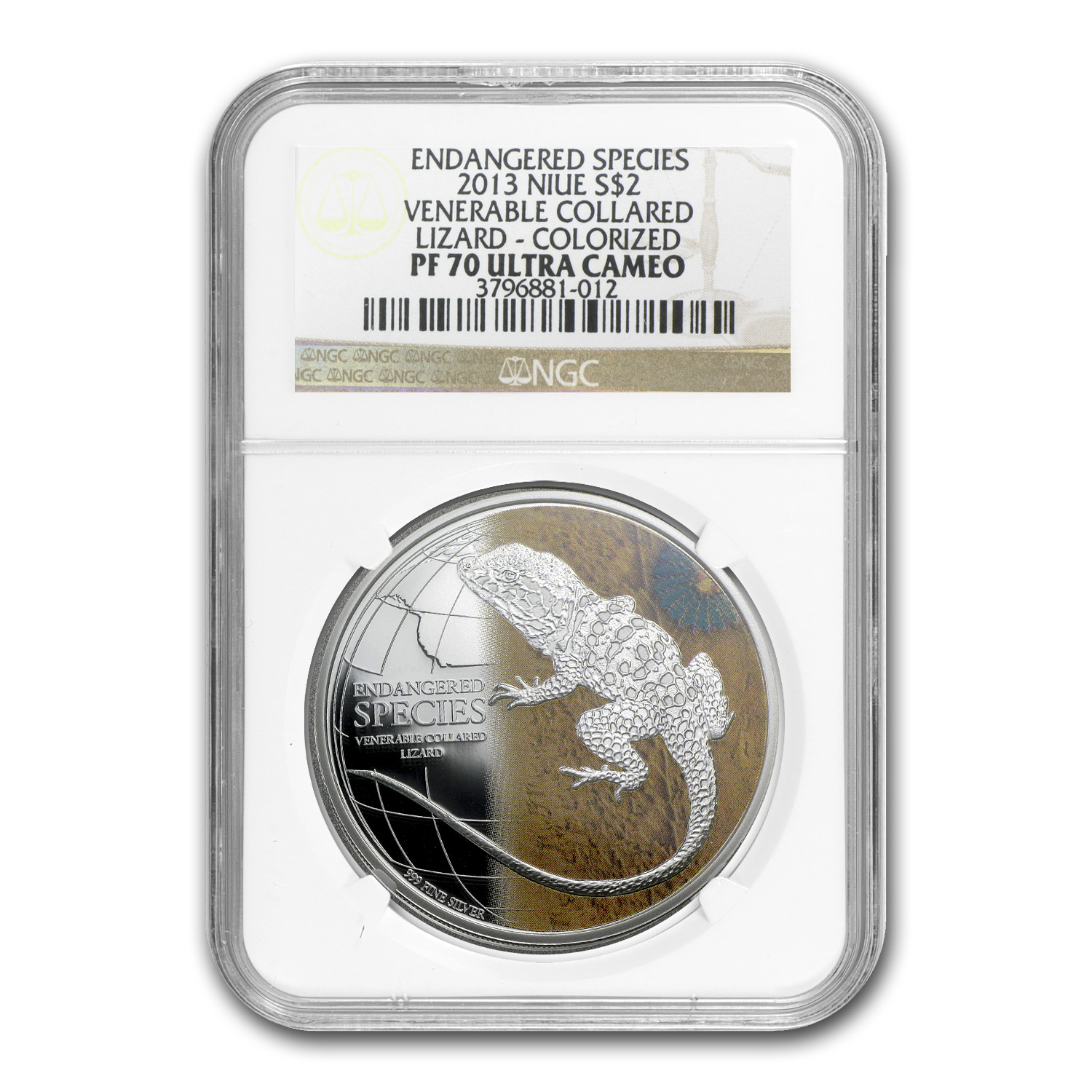 2013 1 oz Silver Endangered Venerable Collared Lizard NGC PF-70