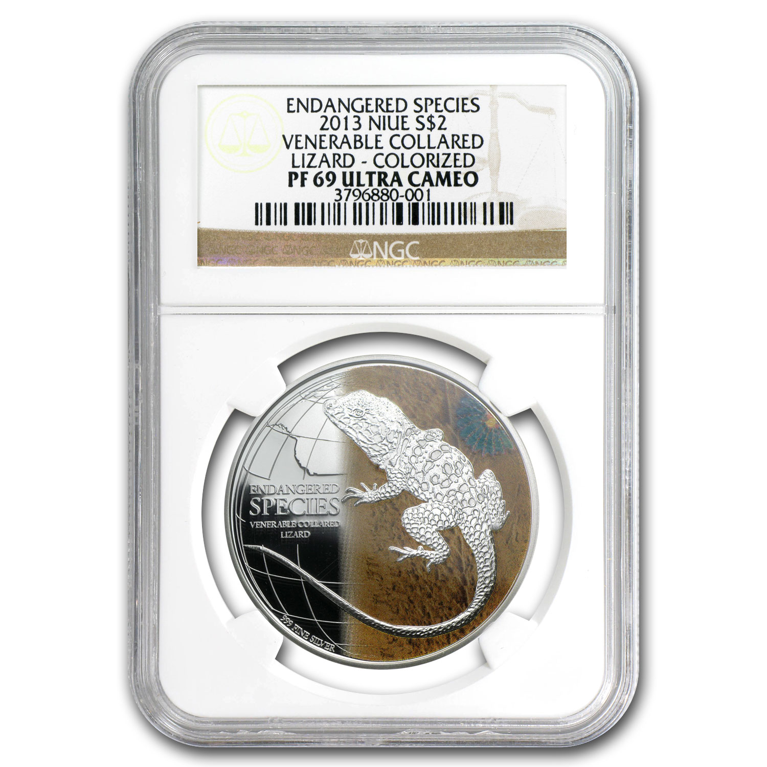 2013 Niue 1 oz Silver Venerable Collared Lizard PF-69 NGC