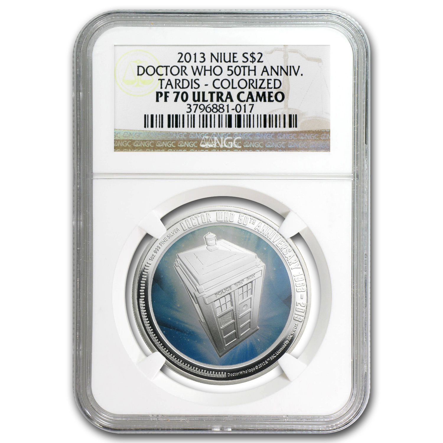 2013 Niue 1 oz Silver $2 Doctor Who 50th Anniversary PF-70 NGC
