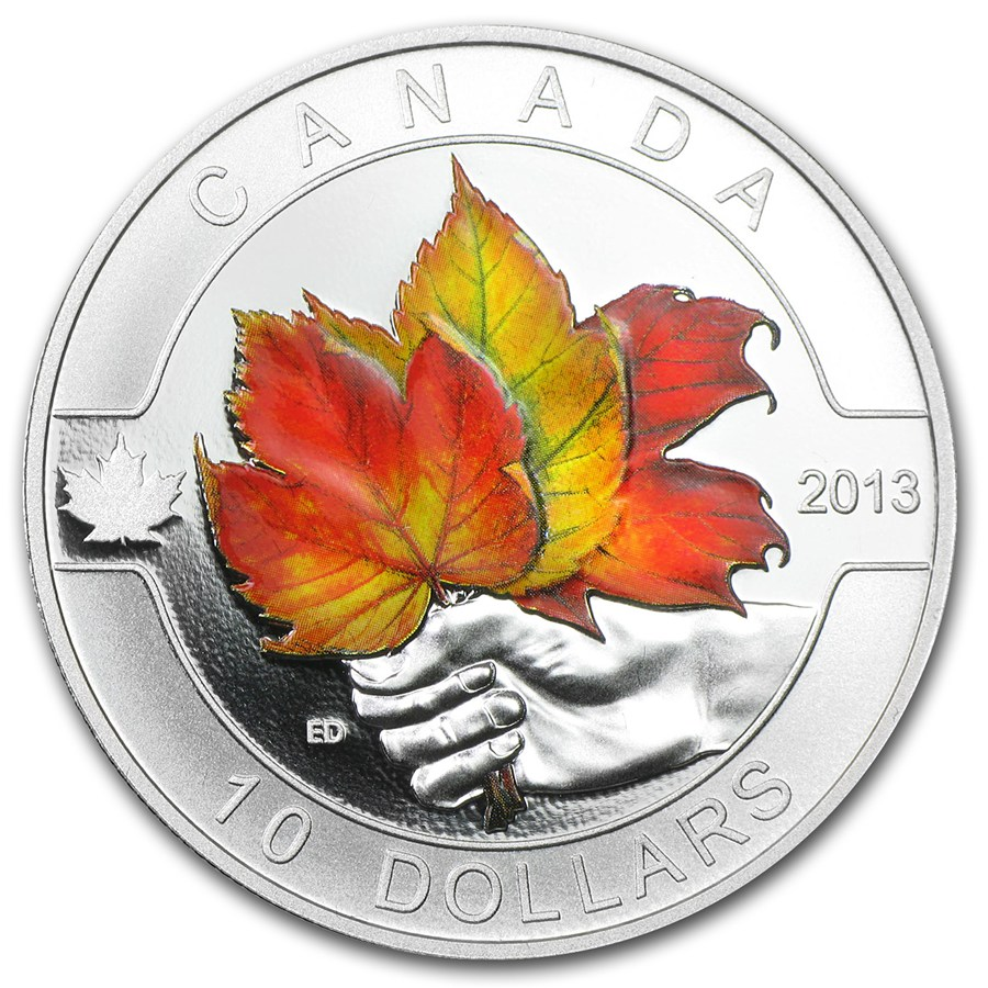 2013 Canada 1 2 Oz Silver 10 Maple Leaf Painted W Box