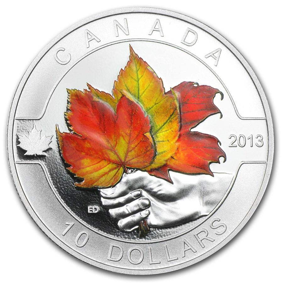 2013 Canada 1 2 Oz Silver 10 Maple Leaf Painted W Box