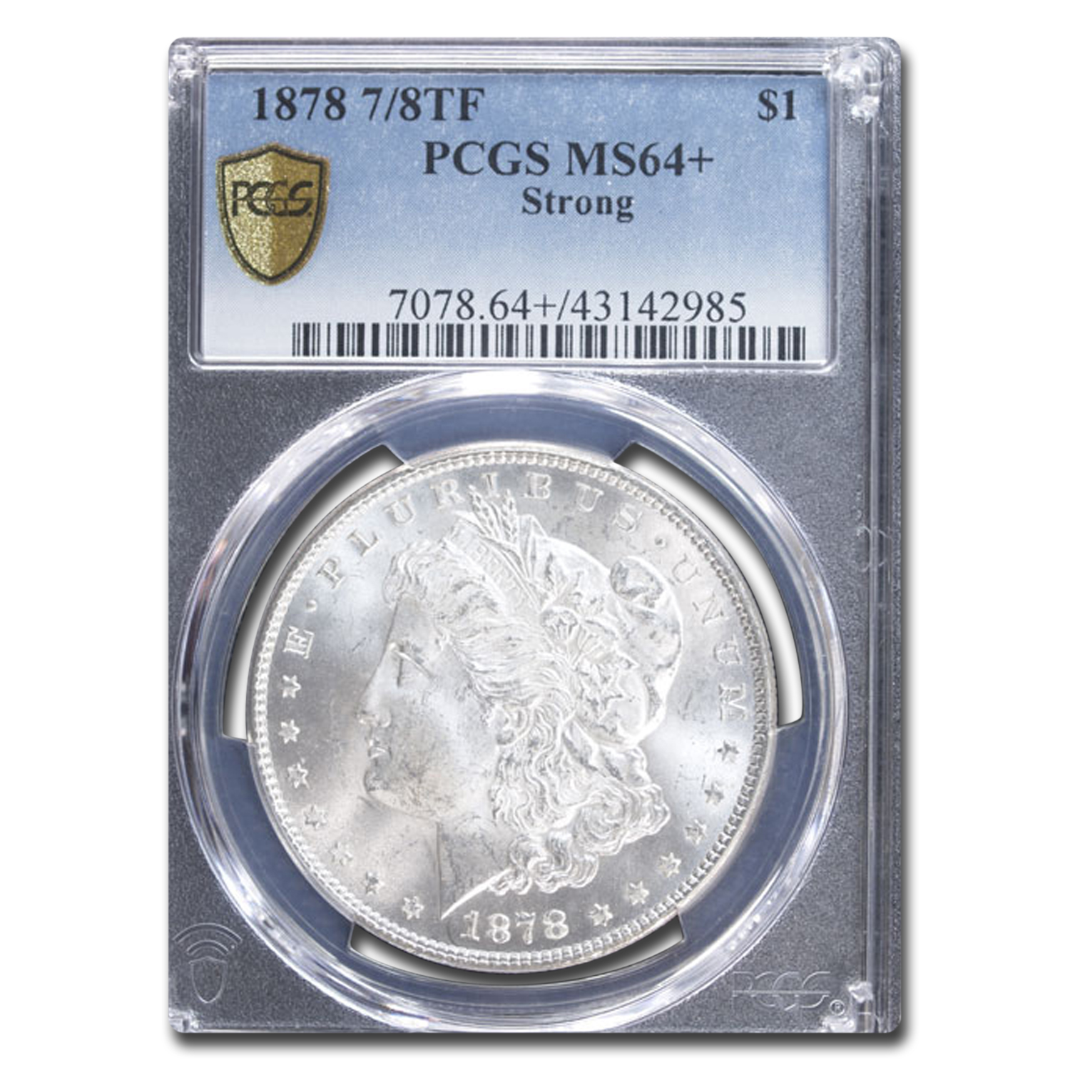 1878 Morgan Dollar 7/8 TF Strong MS-64+ Plus PCGS