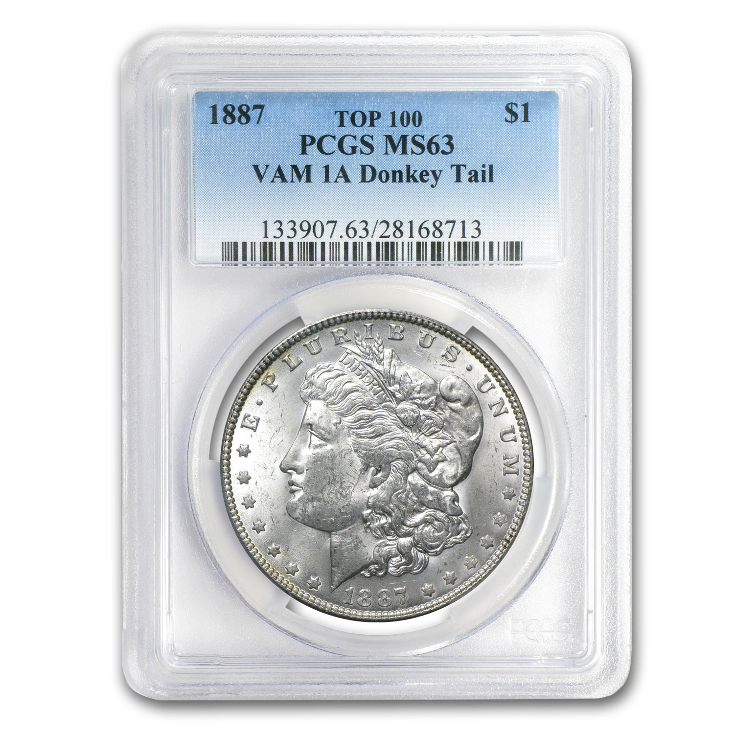 1887 Morgan Dollar MS-63 PCGS (VAM-1A, Donkey Tail, Top-100)