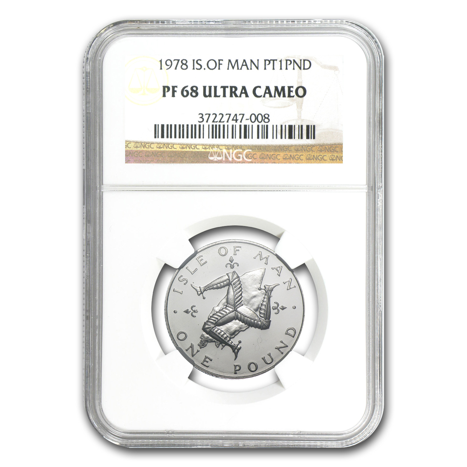 1978 1 Pound Isle of Man Platinum PF-68 NGC