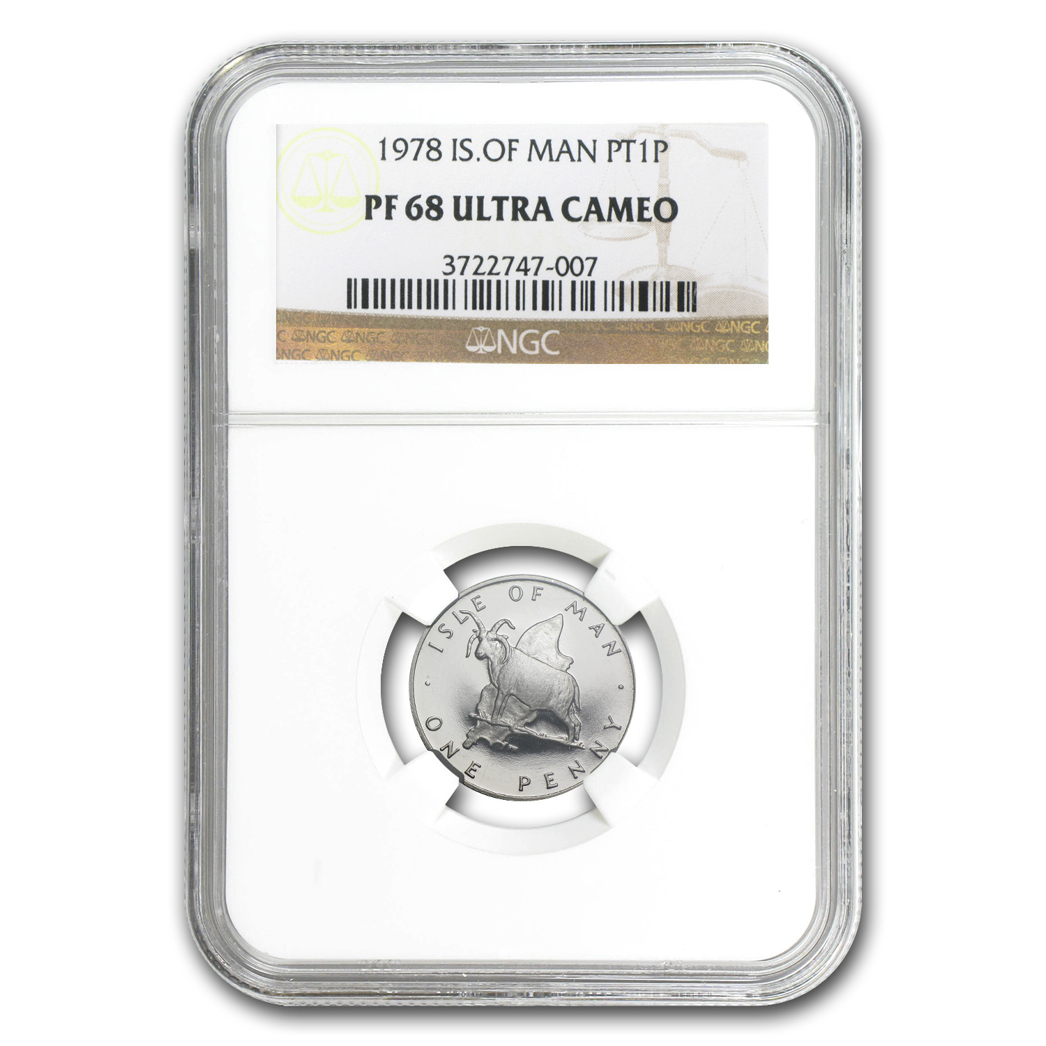 1978 Isle of Man 1 Penny Platinum PF-68 NGC