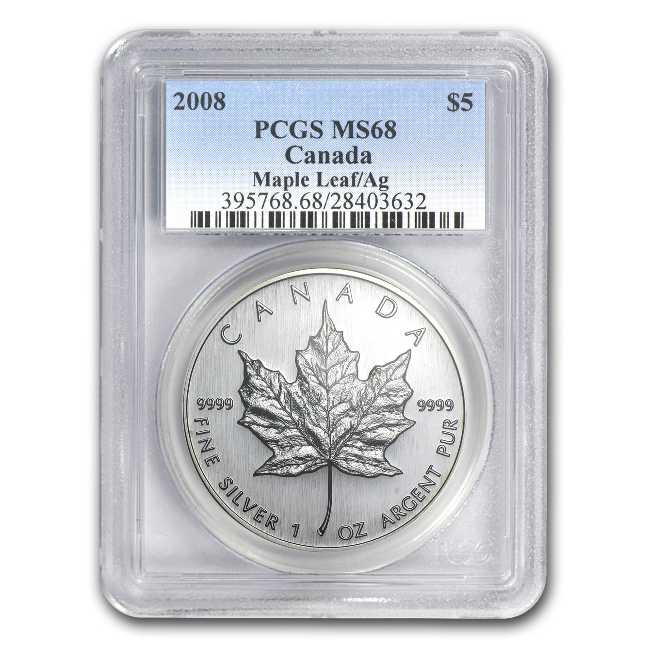 2008 1 oz Silver Canadian Maple Leaf MS-68 PCGS