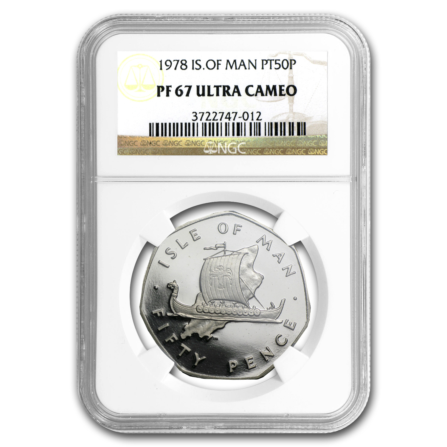 1978 Isle of Man 50 Pence Platinum PF-67 NGC