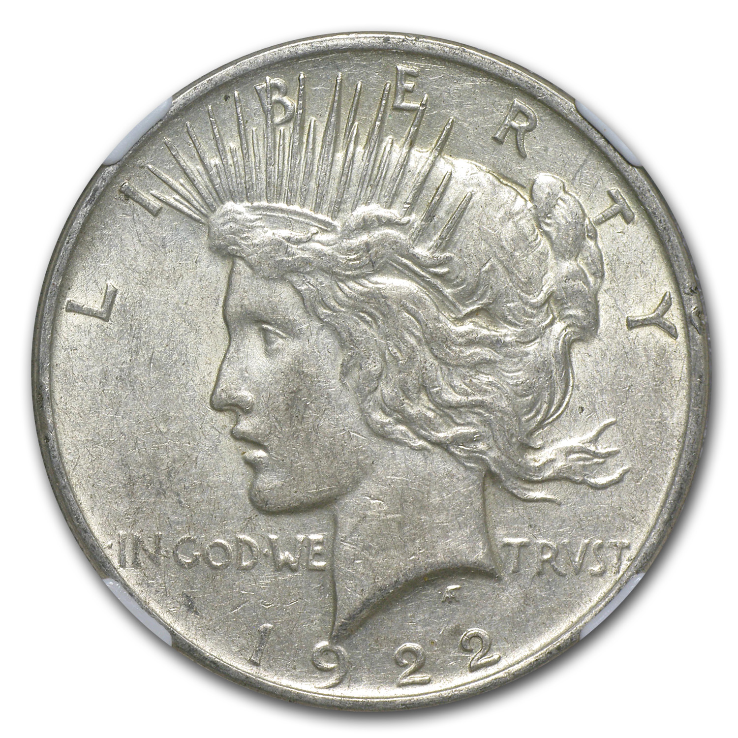1922-D Peace Dollar AU-53 NGC 45 Degree CW Rotated Rev Error