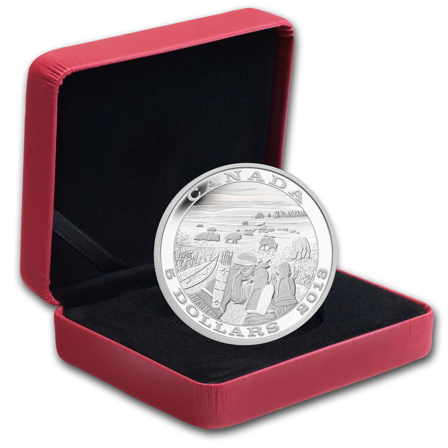 2013 Silver Canadian $5 Tradition of Hunting (Bison)