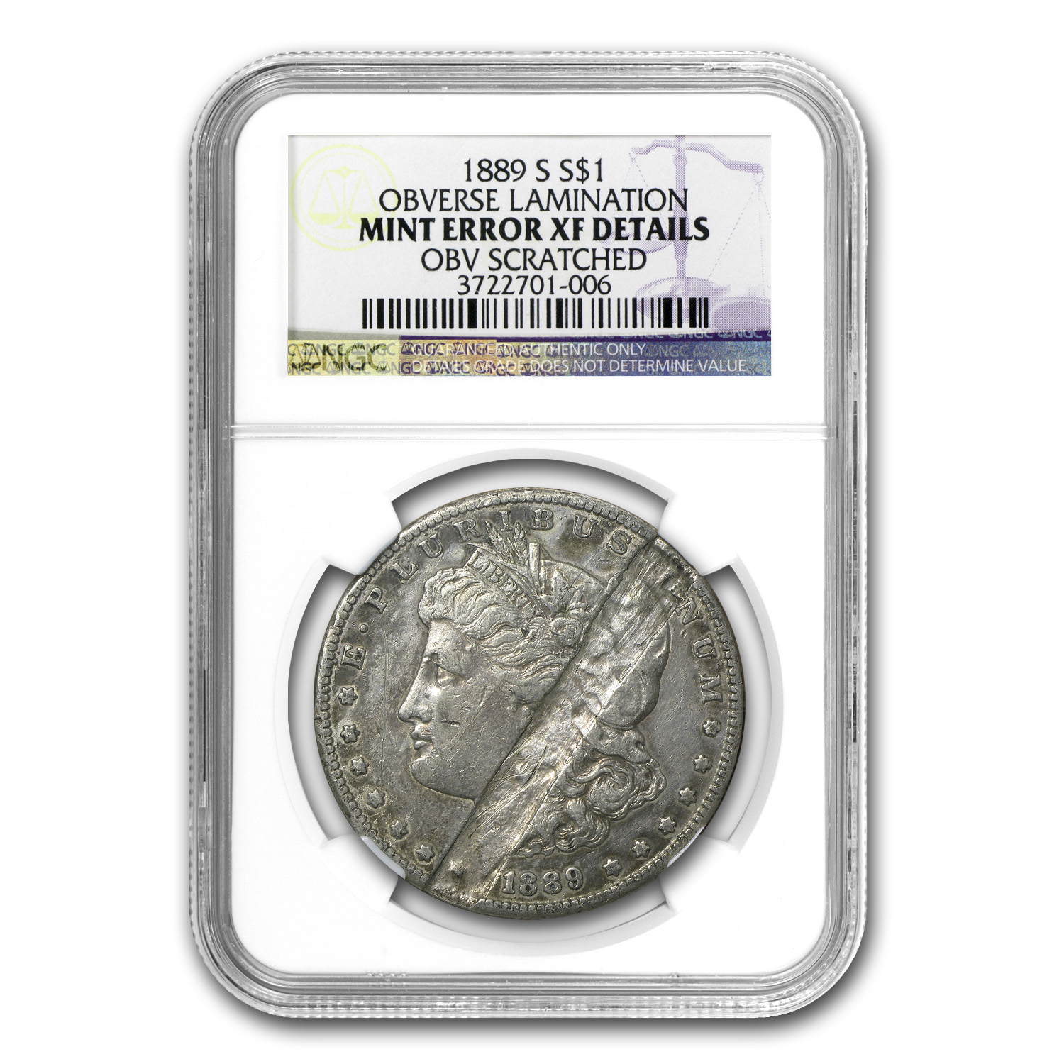 1889-S Morgan Dollar XF Details NGC (Obv Struck Thru)