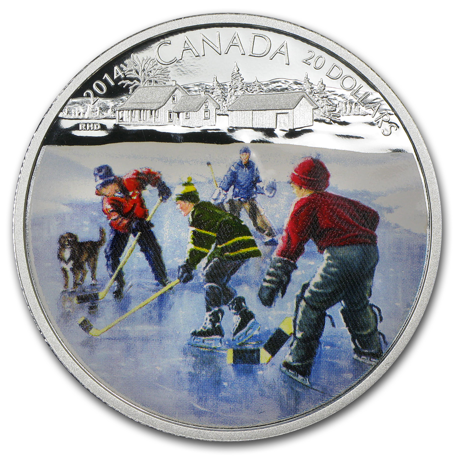 2014 1 oz Silver Canadian $20 Pond Hockey