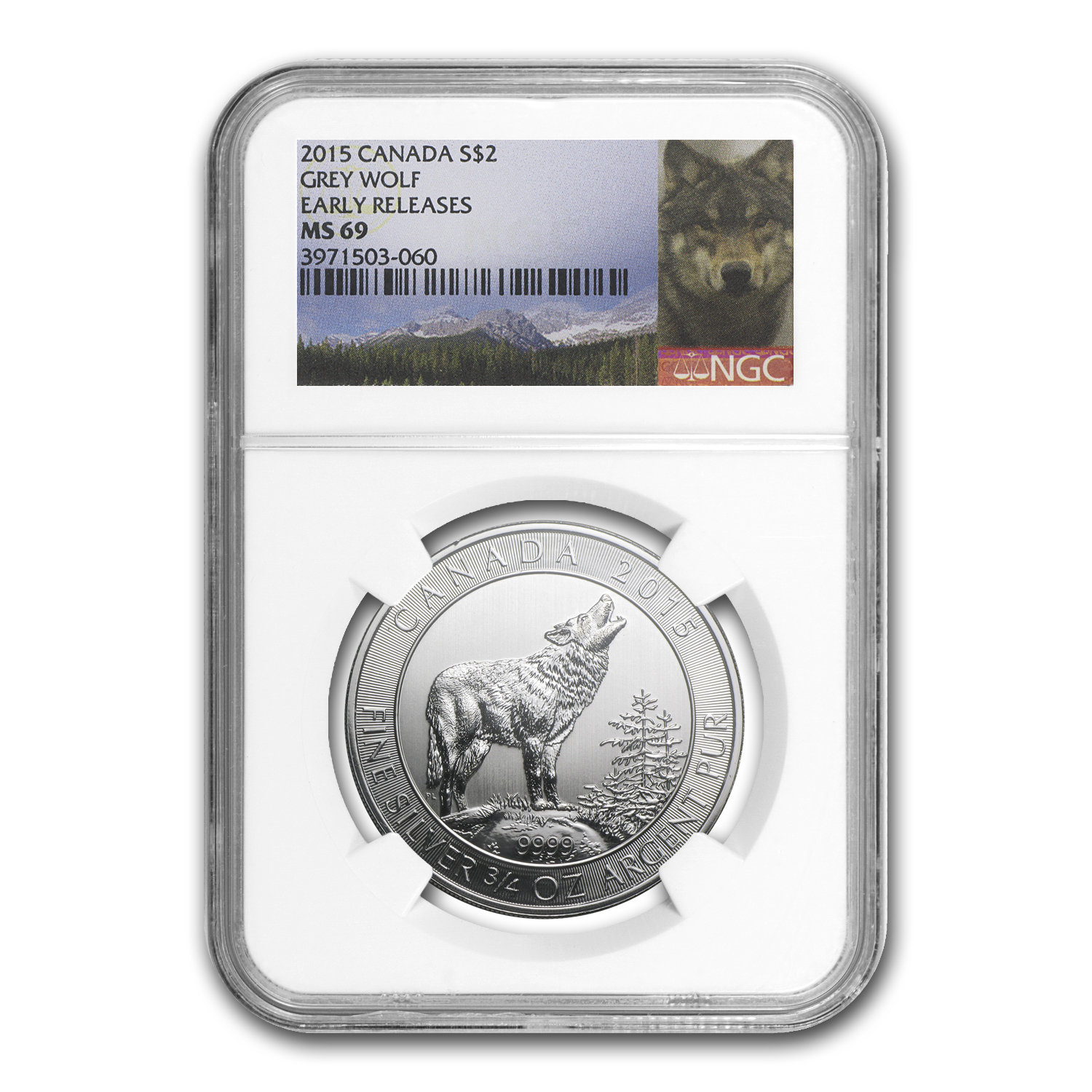 2015 Canada 3/4 oz Silver Grey Wolf MS-69 NGC (Early Release)