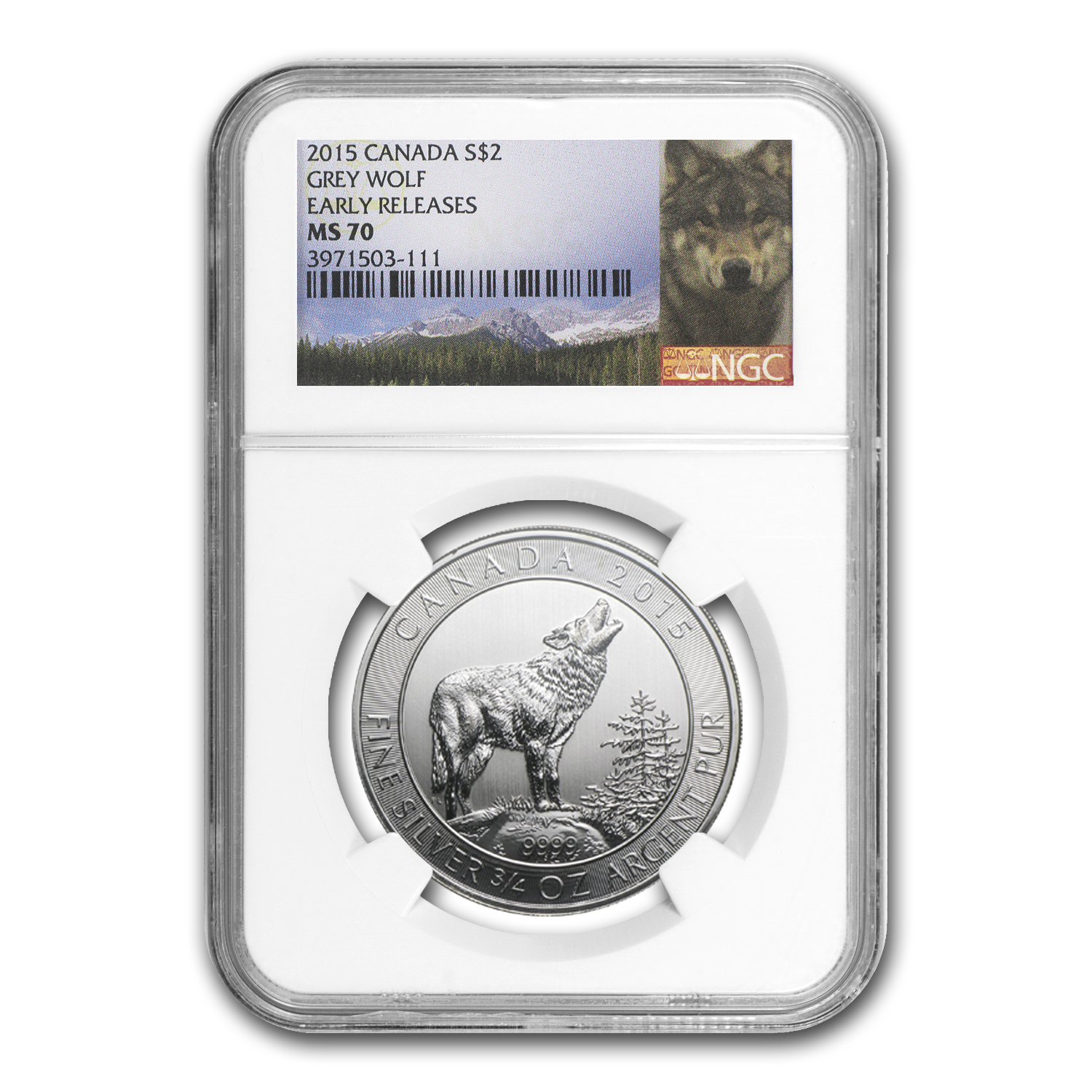2015 Canada 3/4 oz Silver Grey Wolf MS-70 NGC (Early Release)