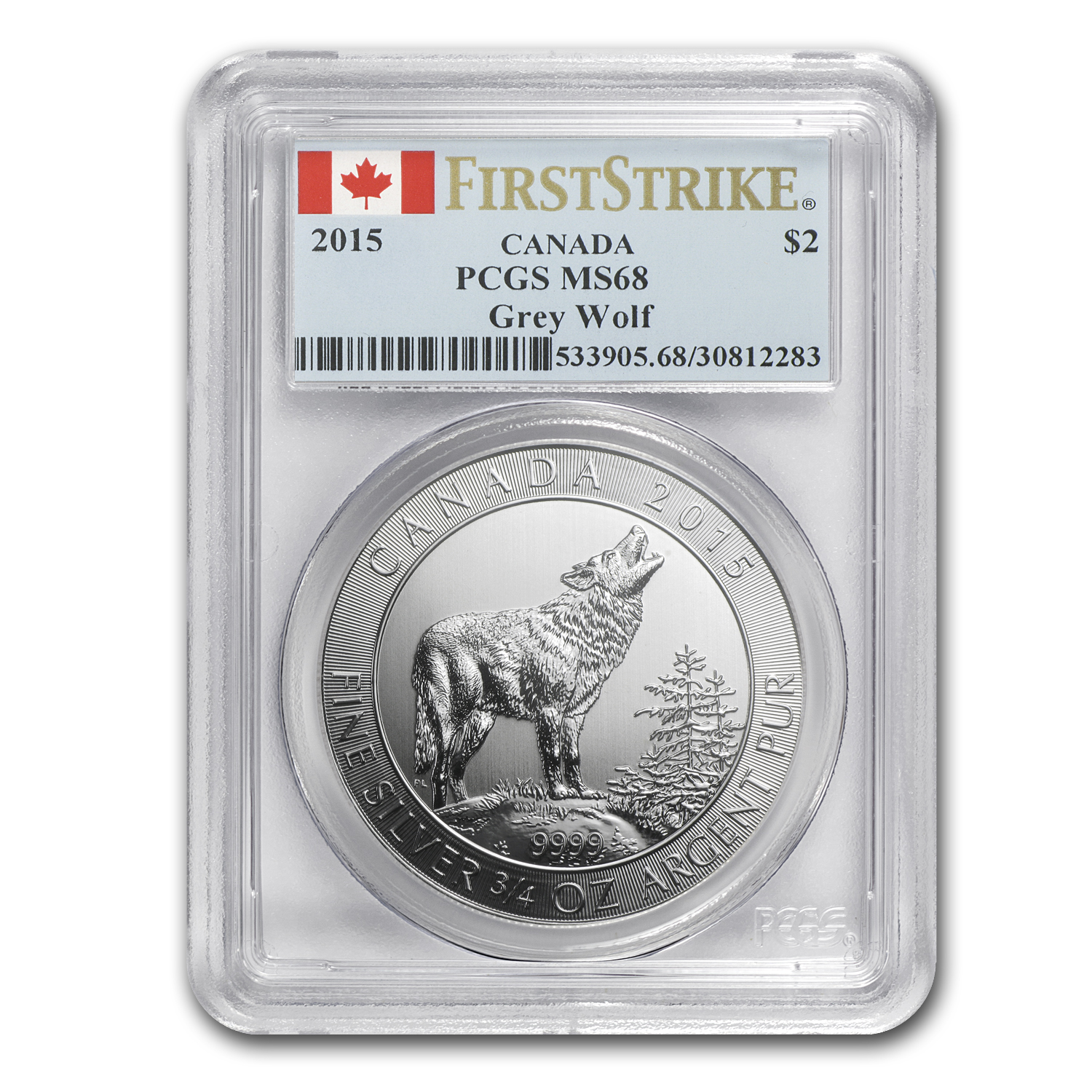 2015 Canada 3/4 oz Silver Grey Wolf MS-68 PCGS (First Strikes)
